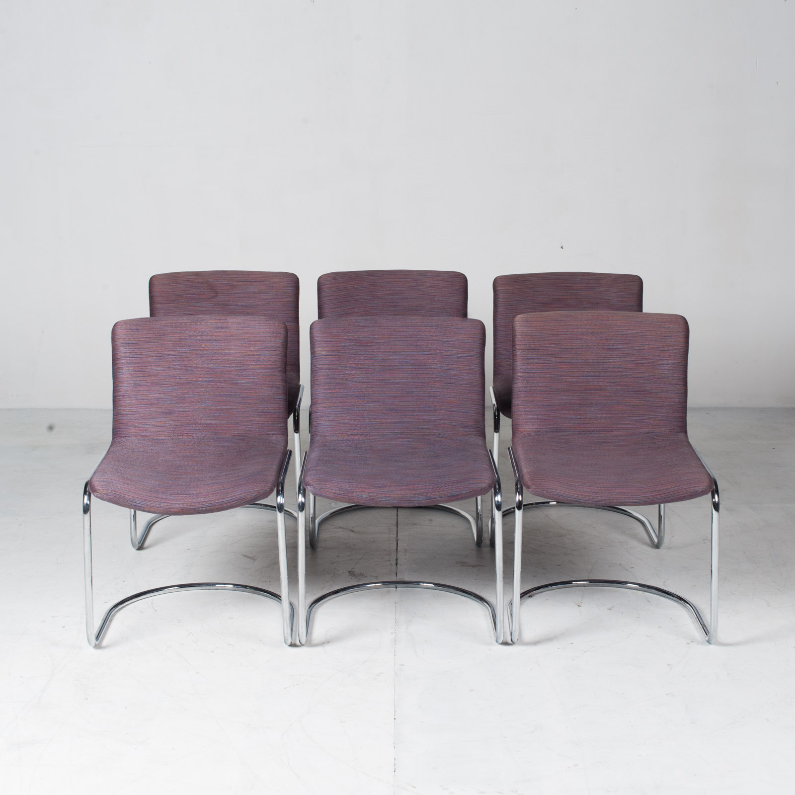 Set Of 6 Model 'lens' Dining Chairs By Giovanni Offredi For Saporiti In Chrome And Original Upholstery 1960s Italy 17