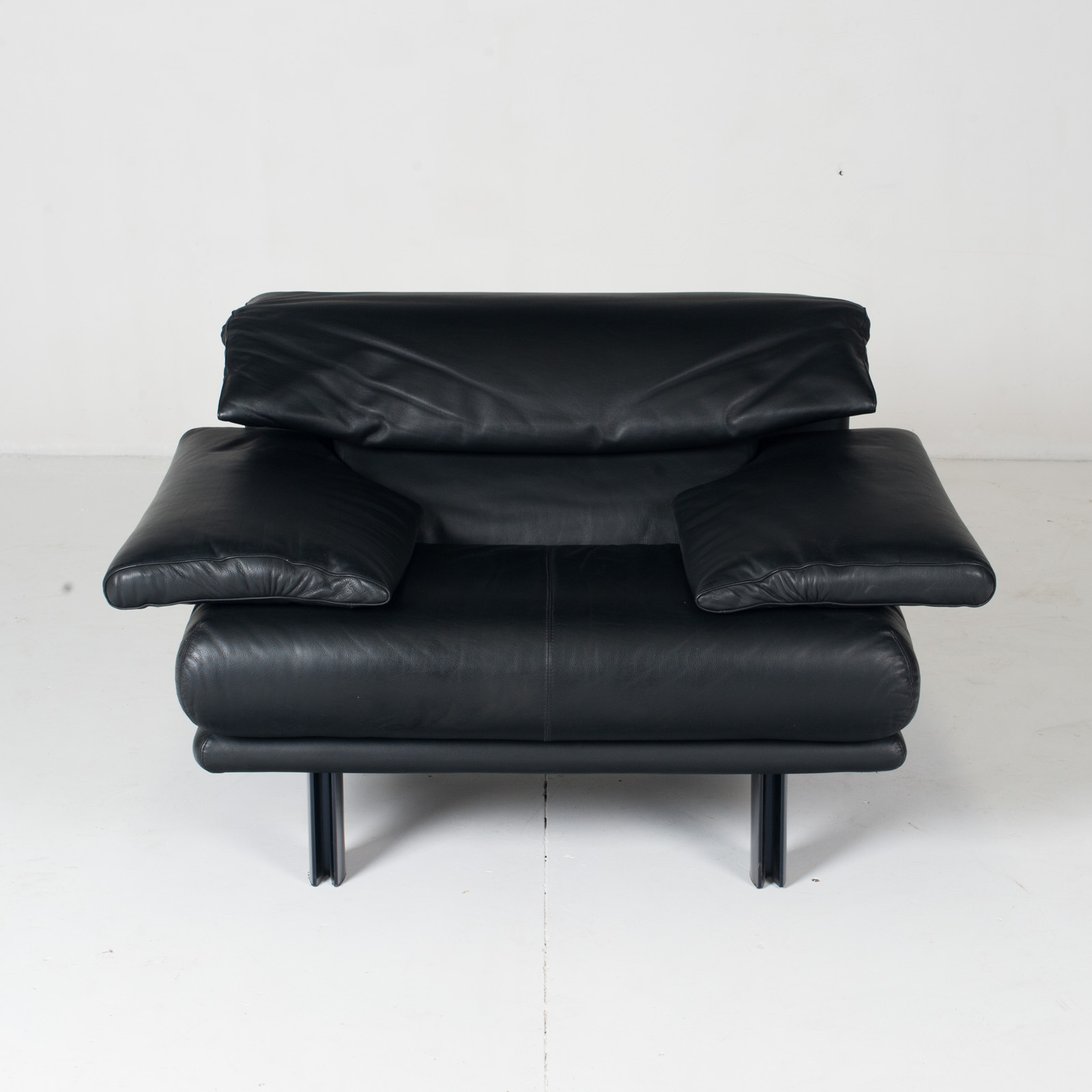 Alanda Armchair By Paolo Piva For B&b Italia In Black Leather, 1980s, Italy 2