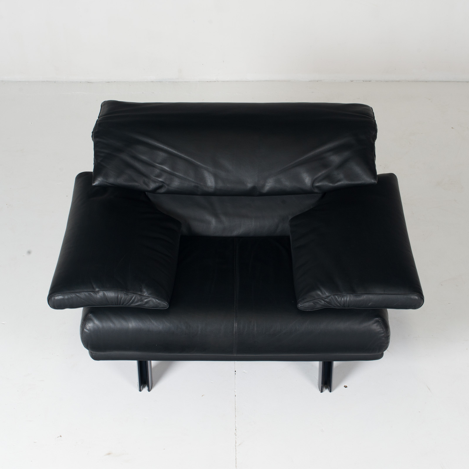 Alanda Armchair By Paolo Piva For B&b Italia In Black Leather, 1980s, Italy 3