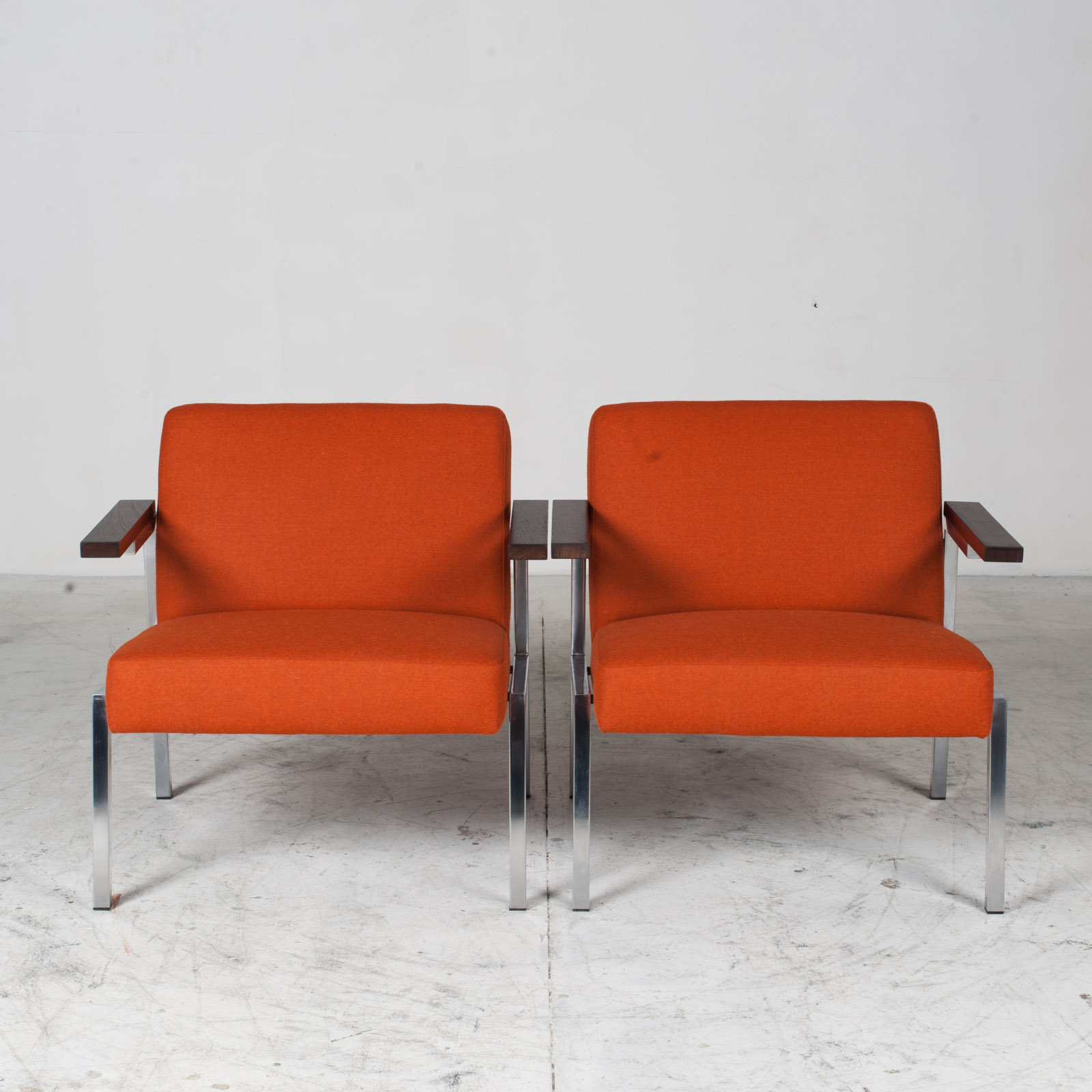 Armchairs With Metal Frame & Rosewood Arms In Original Upholstery, 1960s, Netherlands 11