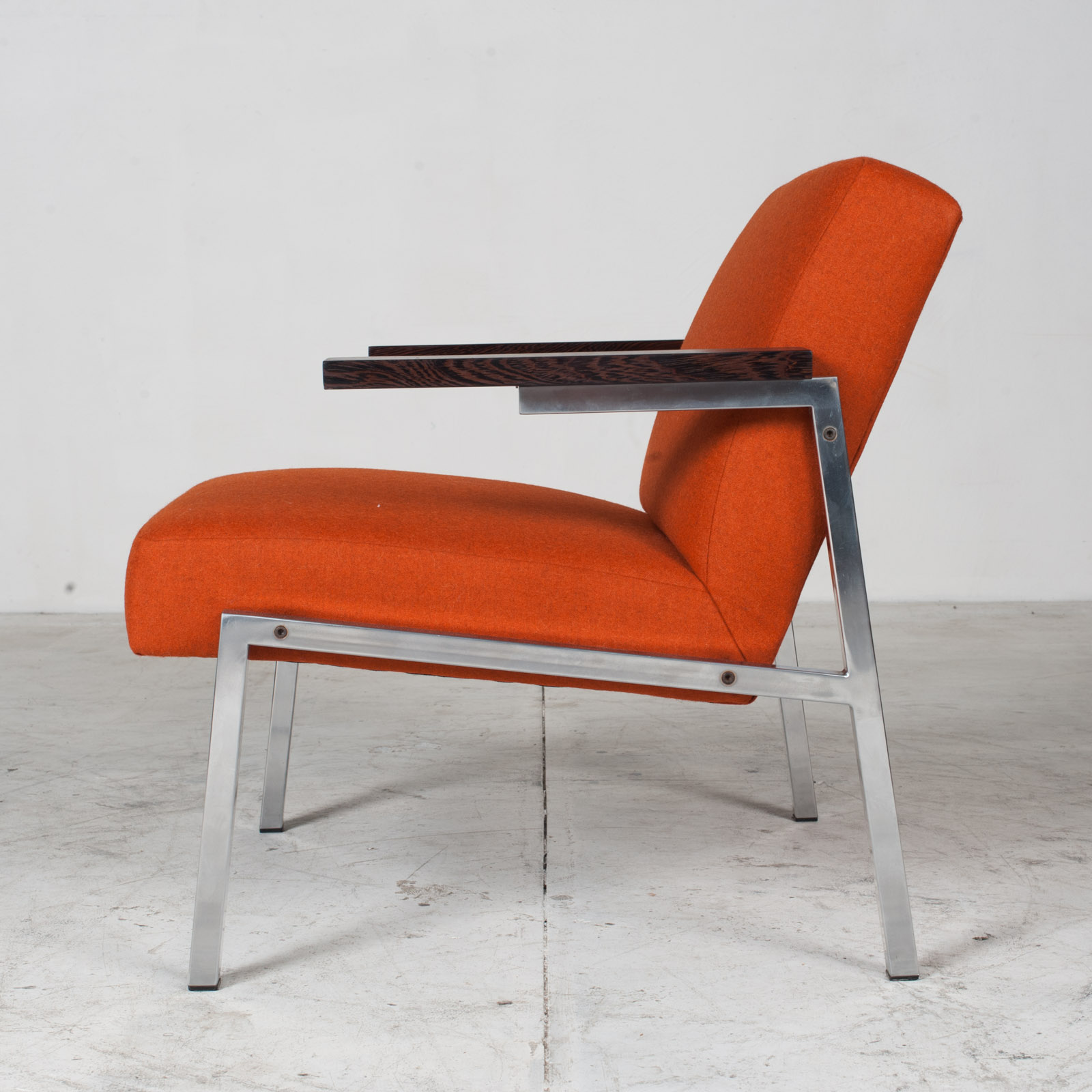 Armchairs With Metal Frame & Rosewood Arms In Original Upholstery, 1960s, Netherlands 8