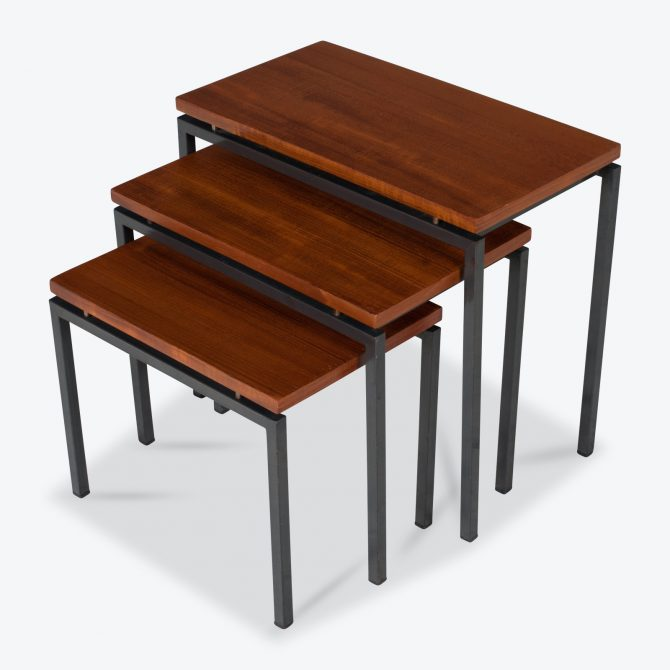 Nesting Tables in Teak with Metal Frame, 1960s, The Netherland