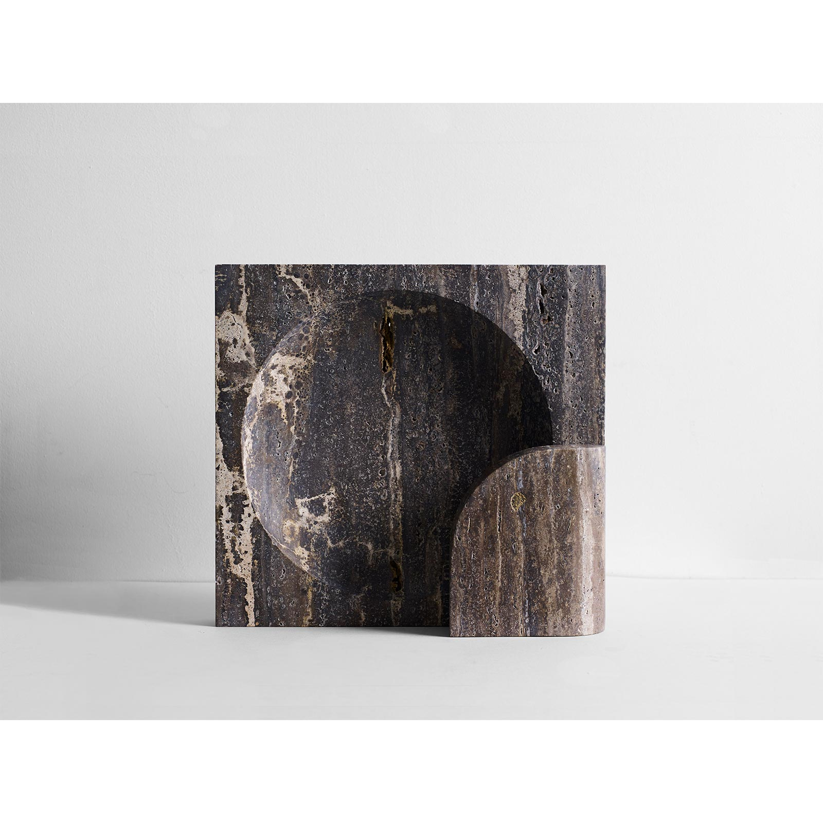Henry Wilson Block Sconce In Black Travertine Hero 3