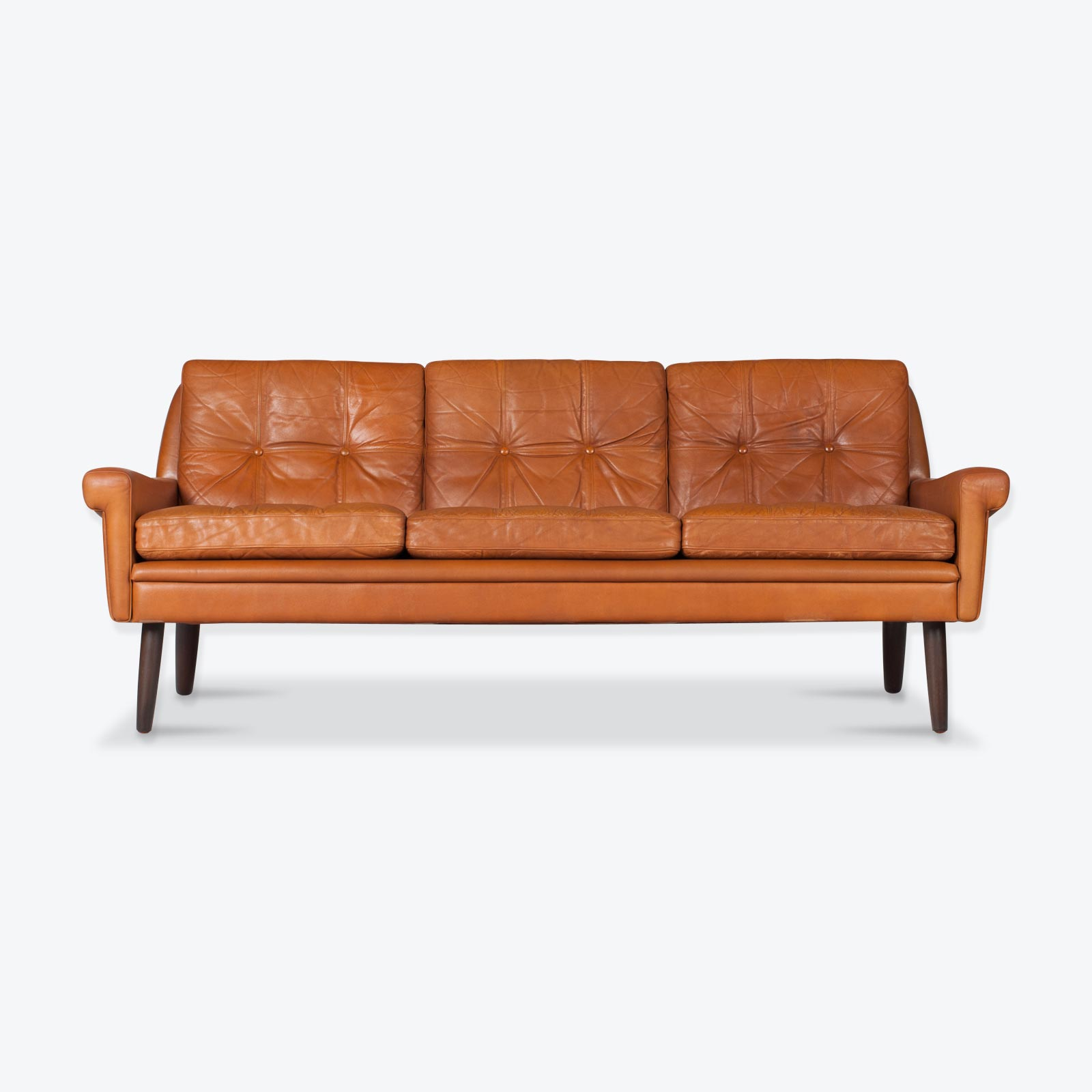 3 Seat Sofa in Tan Leather with Button Detailing for Skipper, 1960s, Denmark-hero