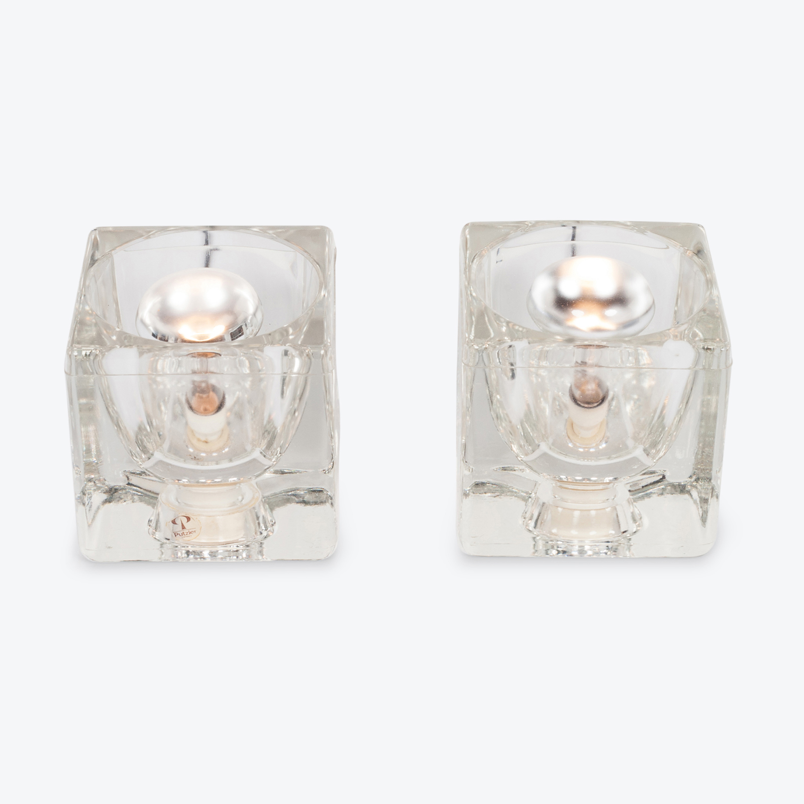 Pair Of Ice Cube Table Lamps By Peill & Putzler, 1960s, Germany Hero