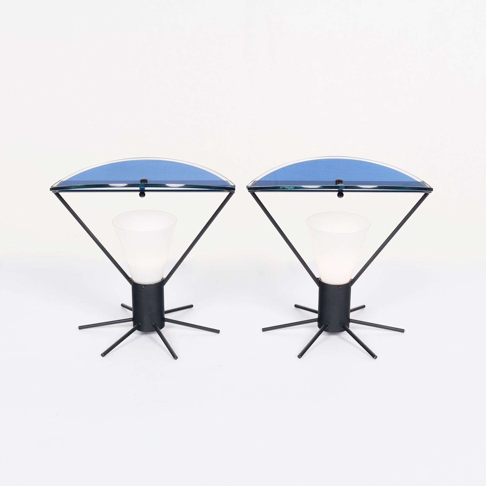 Pair Of Memphis Style Table Lamps In Murano Glass, 1980s, Italy Hero