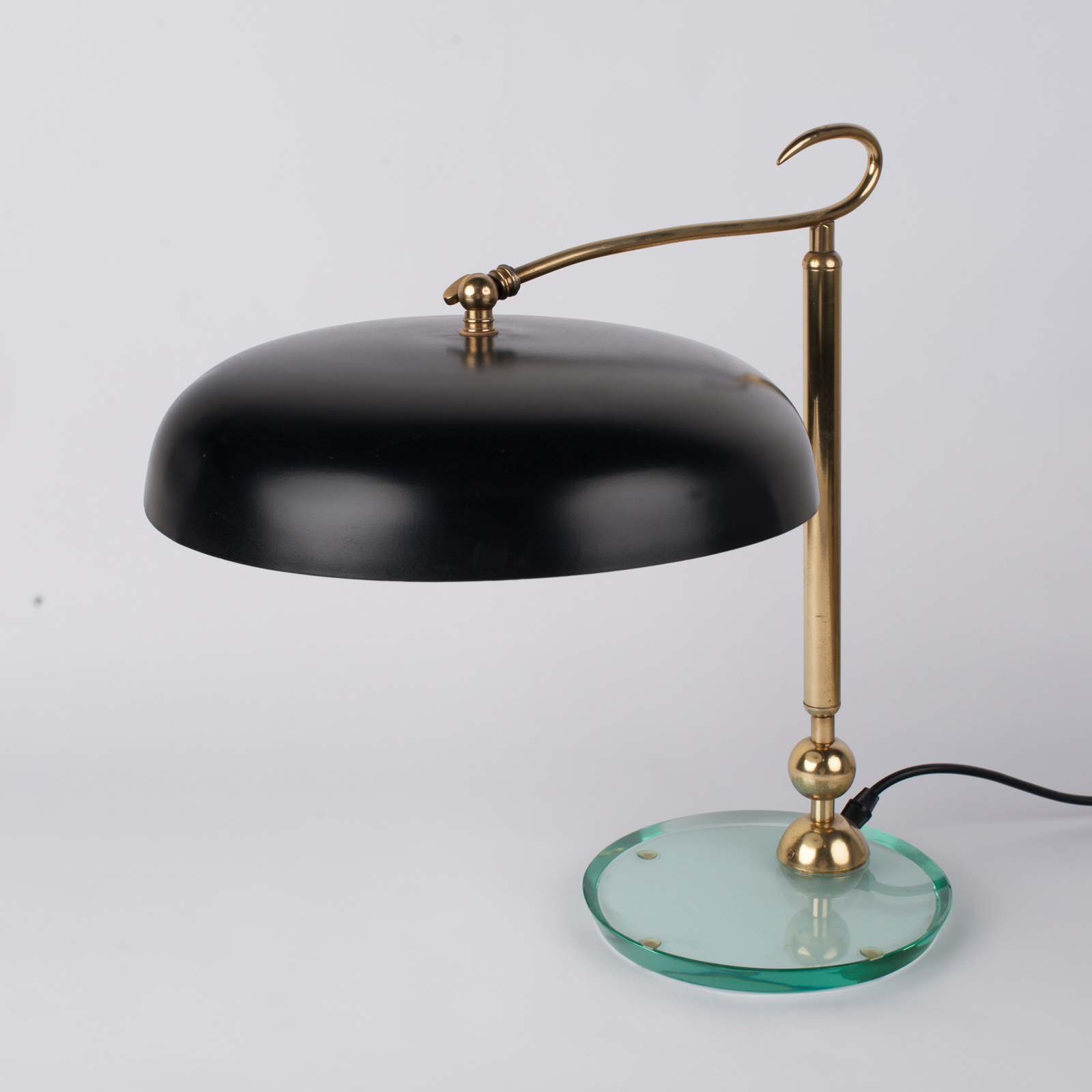 Table Lamp In Brass And Glass Attributed To Fontanaarte, 1930s, Italy 1