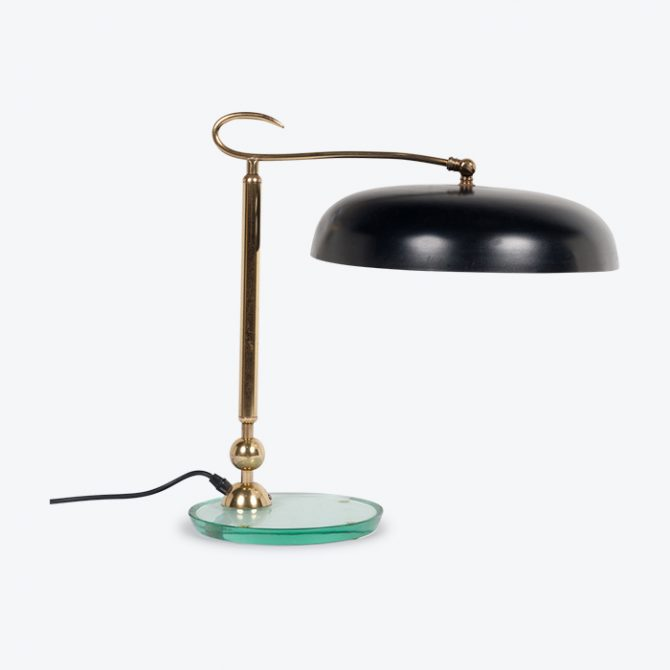 Table Lamp In Brass And Glass Attributed To Fontanaarte, 1930s, Italy Thumb