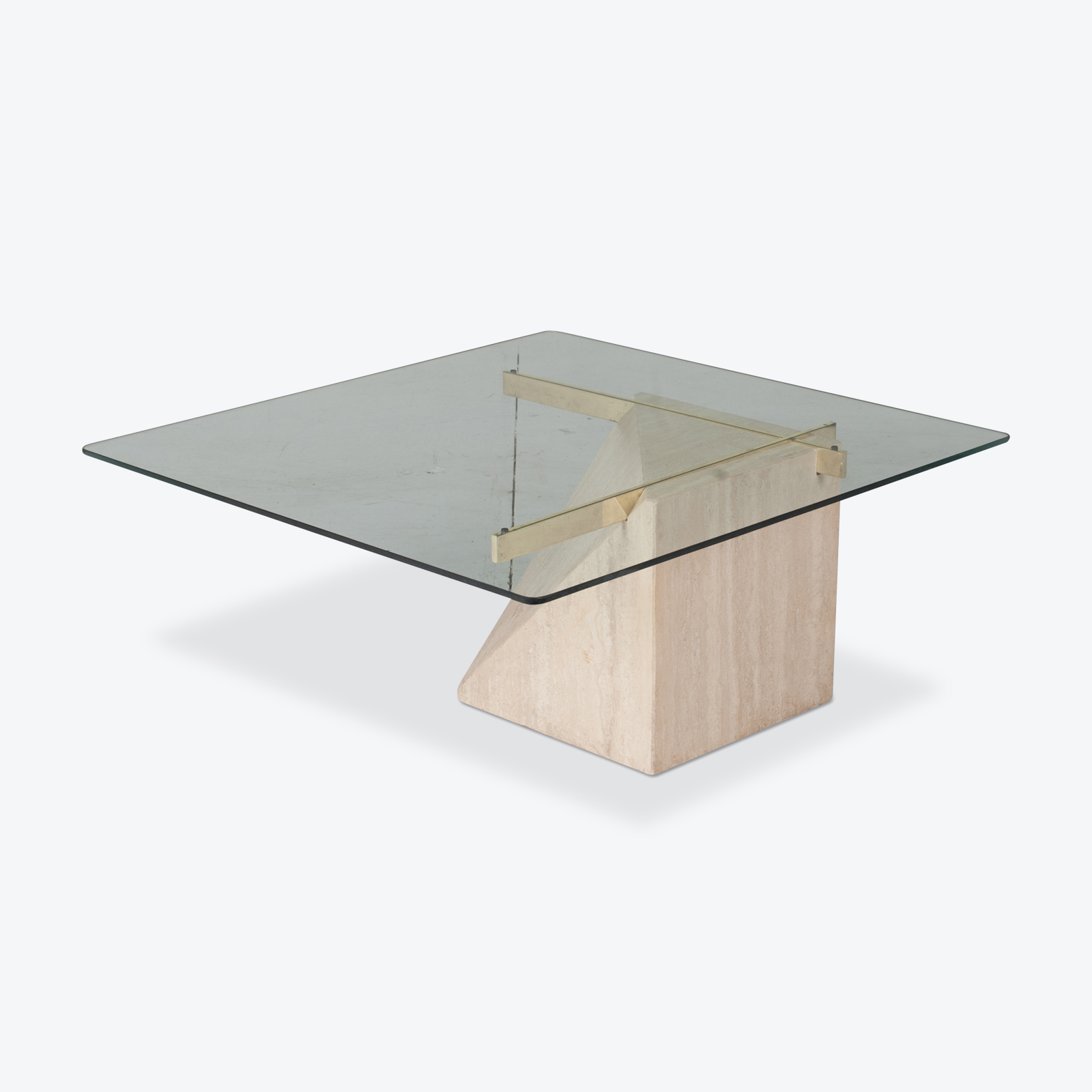 Coffee Table By Artedi In Travertine, Cantilevered Glass And Brass, 1970s, Italy Hero