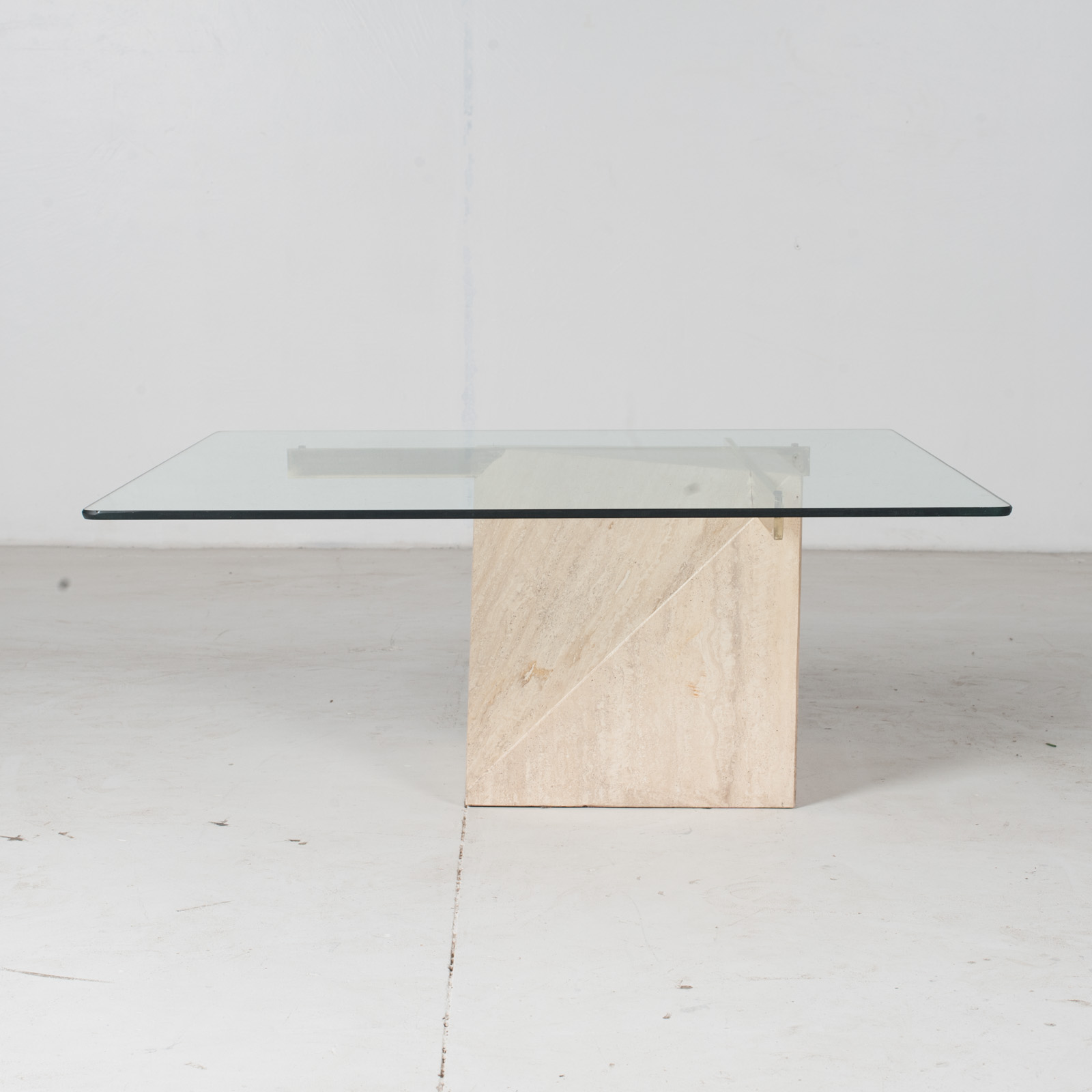 Coffee Table By Artedi In Travertine, Cantilevered Glass And Brass, 1970s, Italy1