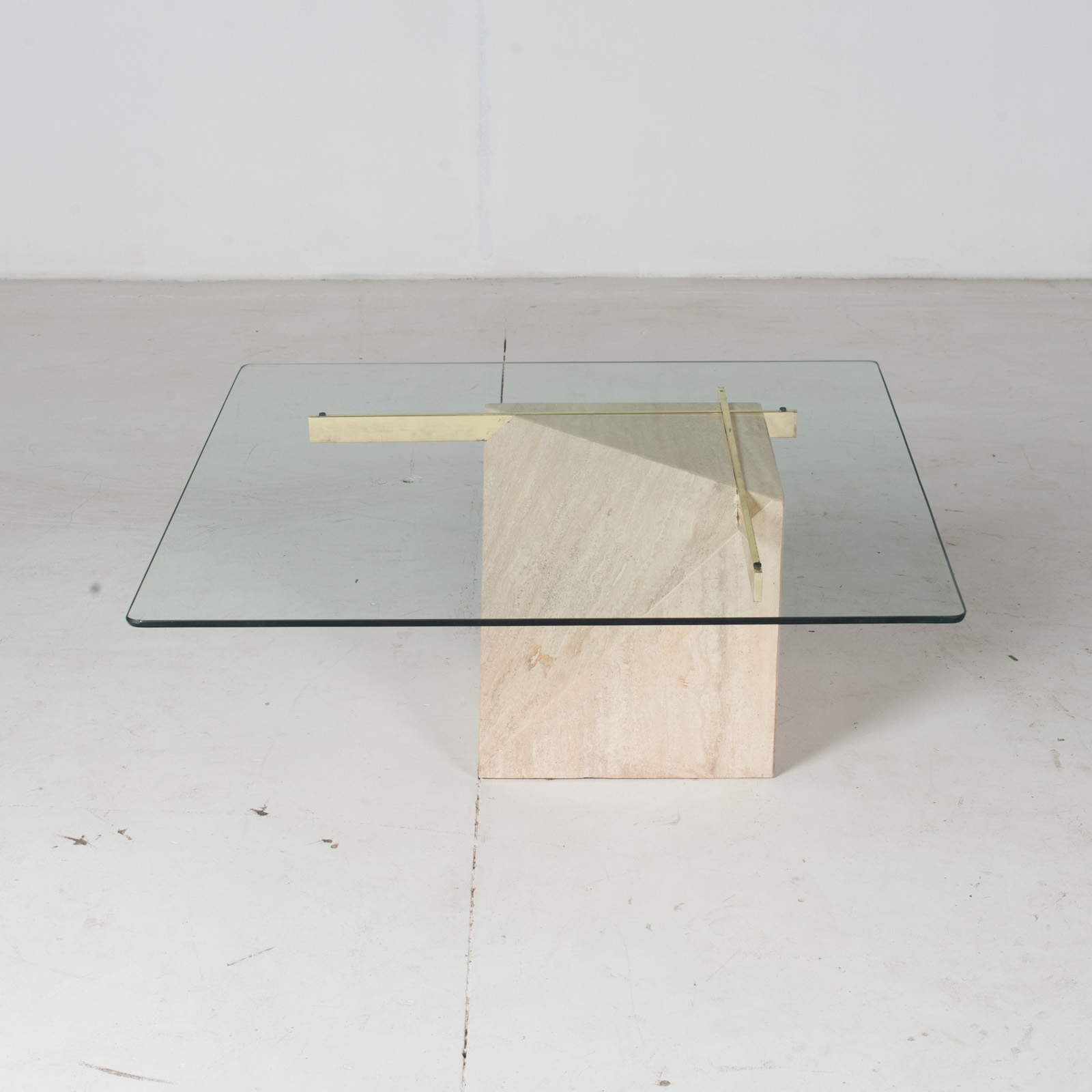 Coffee Table By Artedi In Travertine, Cantilevered Glass And Brass, 1970s, Italy2