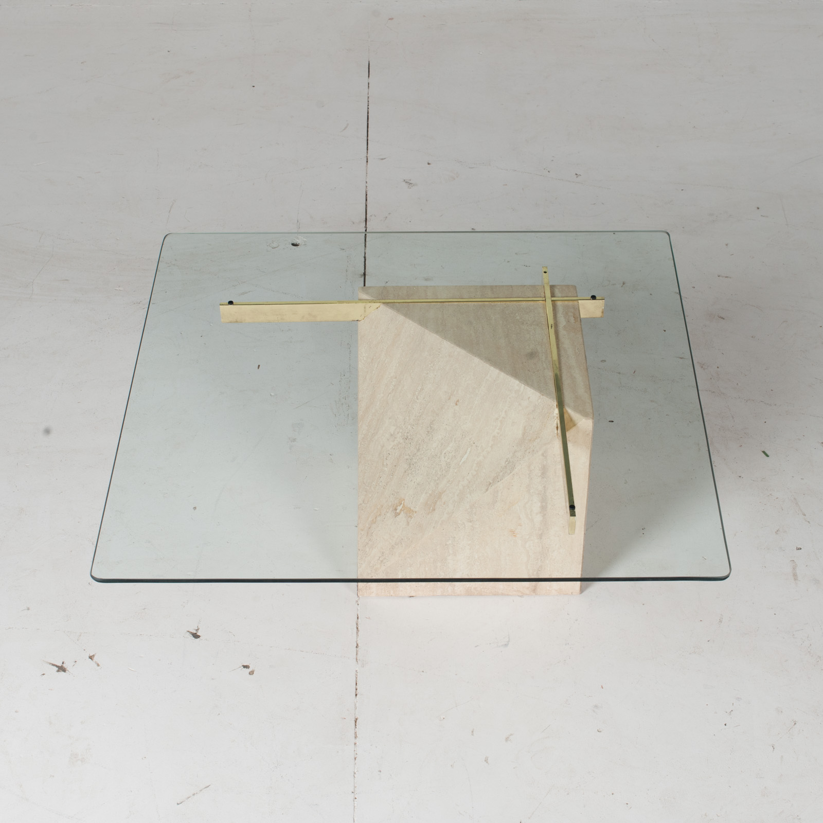 Coffee Table By Artedi In Travertine, Cantilevered Glass And Brass, 1970s, Italy3