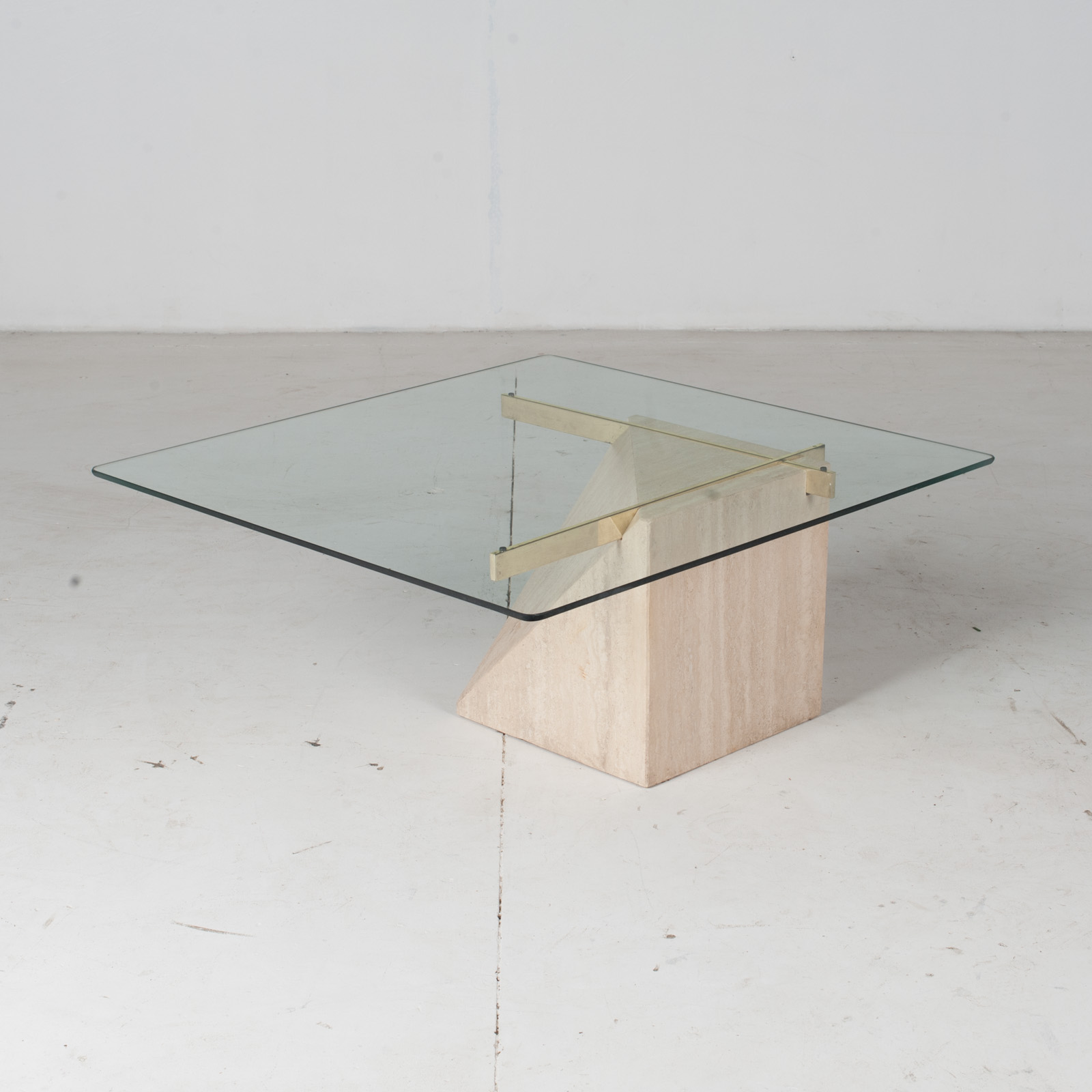 Coffee Table By Artedi In Travertine, Cantilevered Glass And Brass, 1970s, Italy7