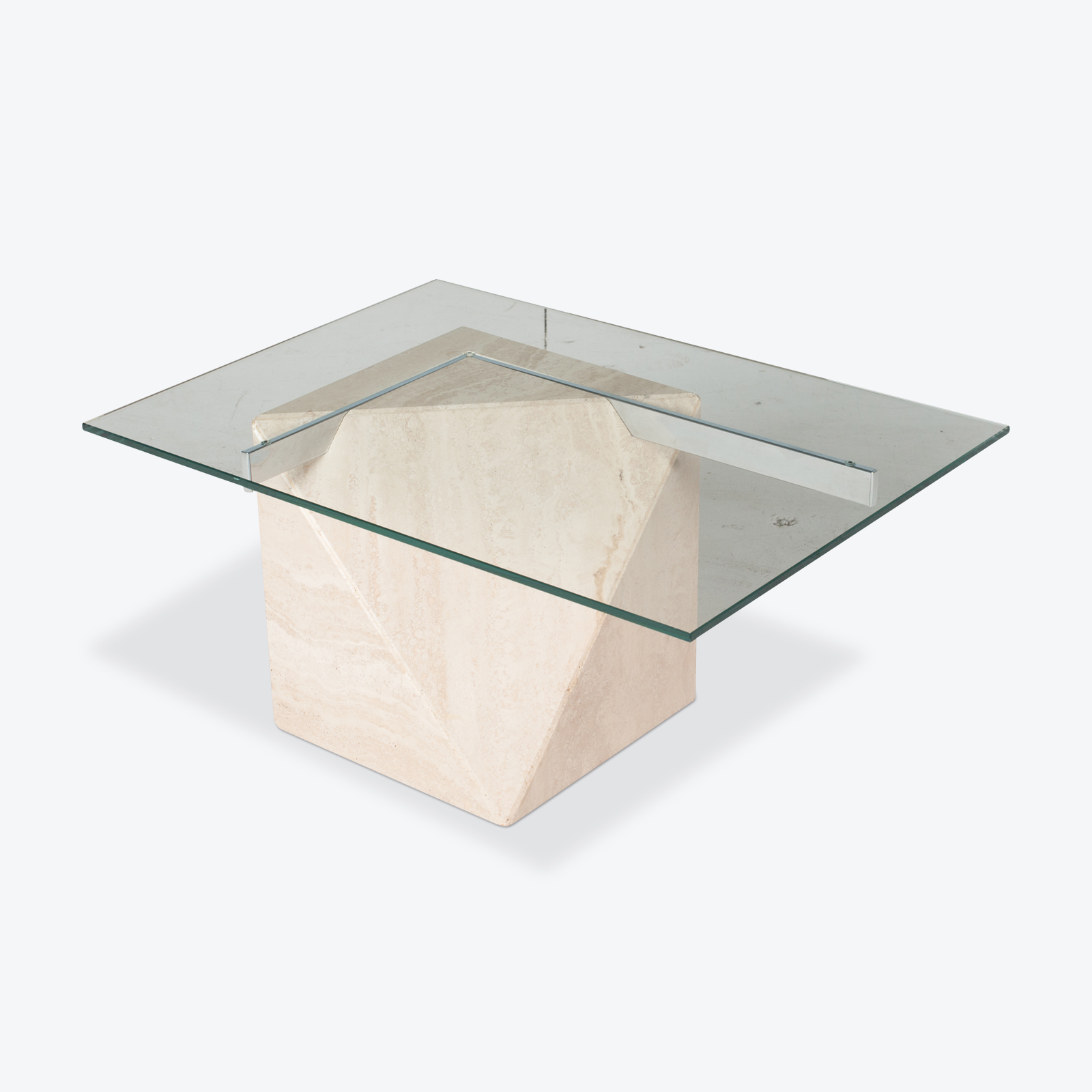 Coffee Table By Artedi In Travertine, Cantilevered Glass And Chrome, 1970s, Italy