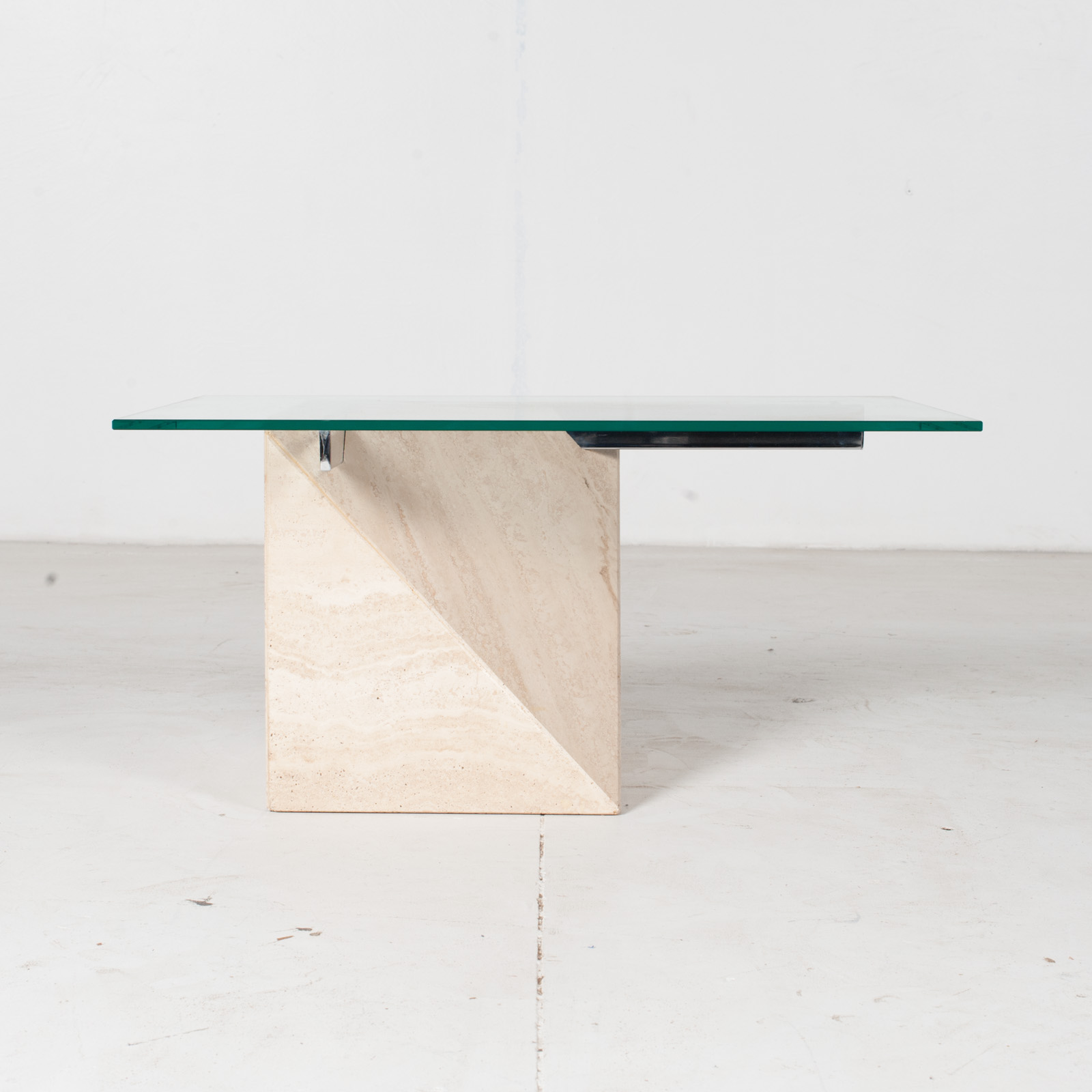 Coffee Table By Artedi In Travertine, Cantilevered Glass And Chrome, 1970s, Italy1