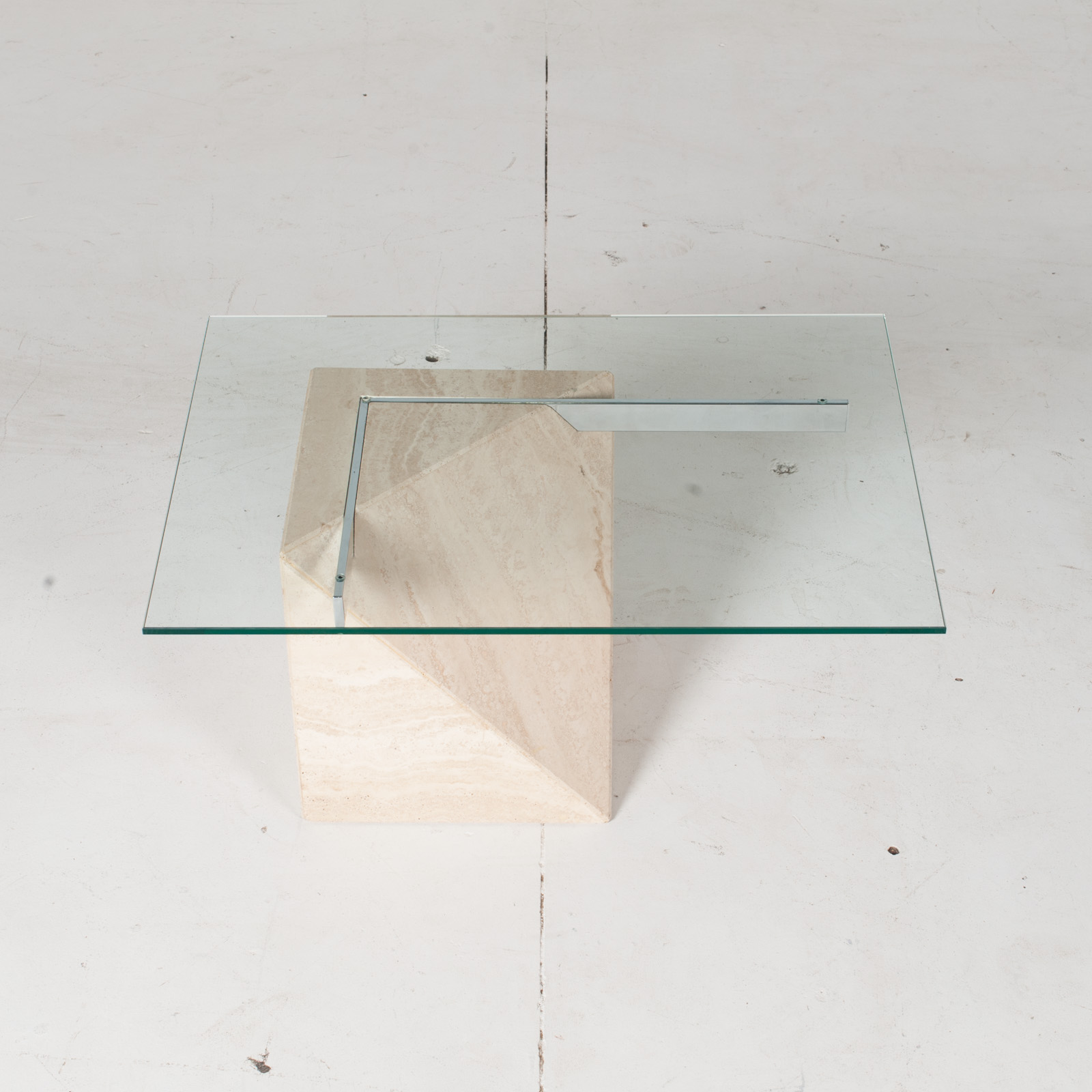 Coffee Table By Artedi In Travertine, Cantilevered Glass And Chrome, 1970s, Italy3