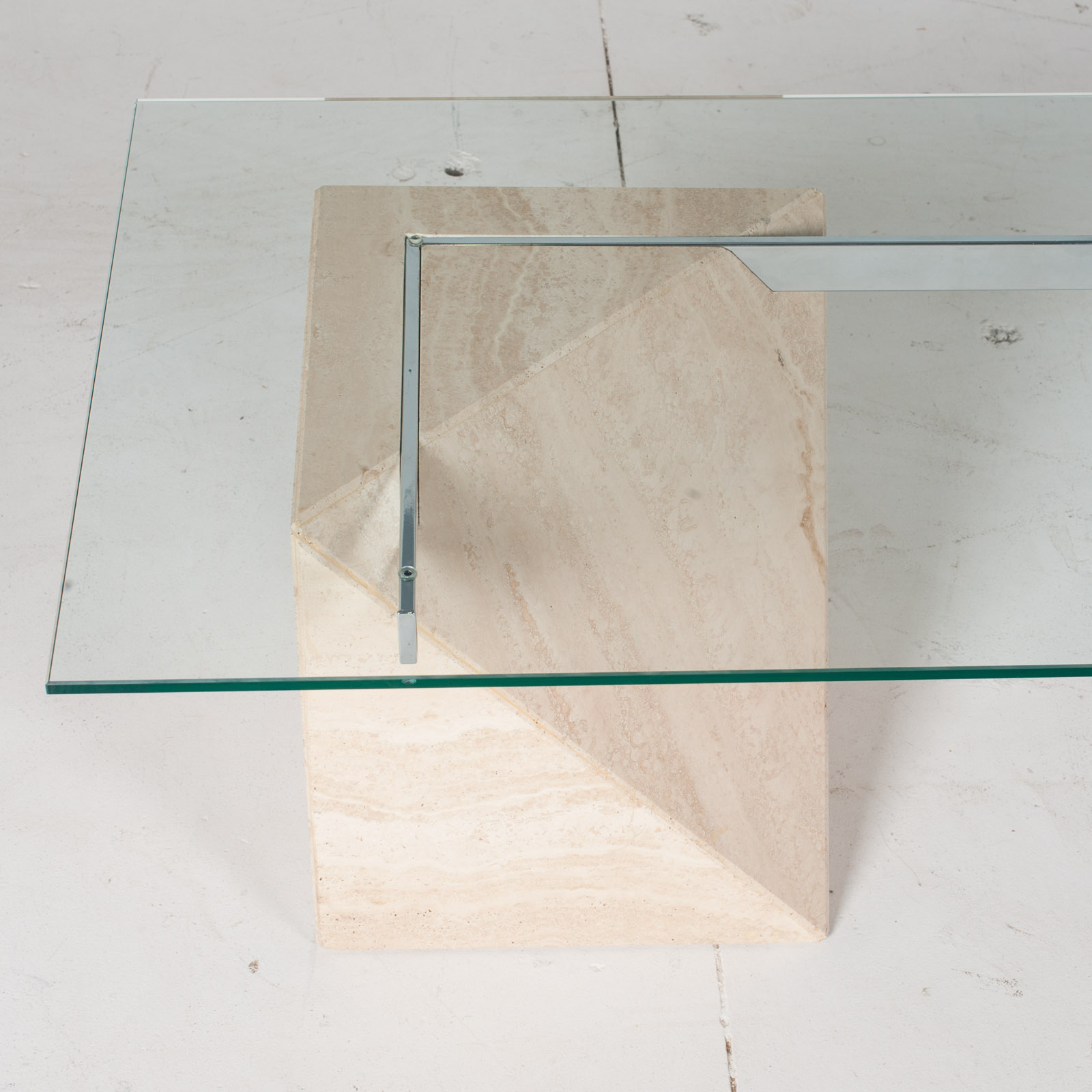 Coffee Table By Artedi In Travertine, Cantilevered Glass And Chrome, 1970s, Italy4