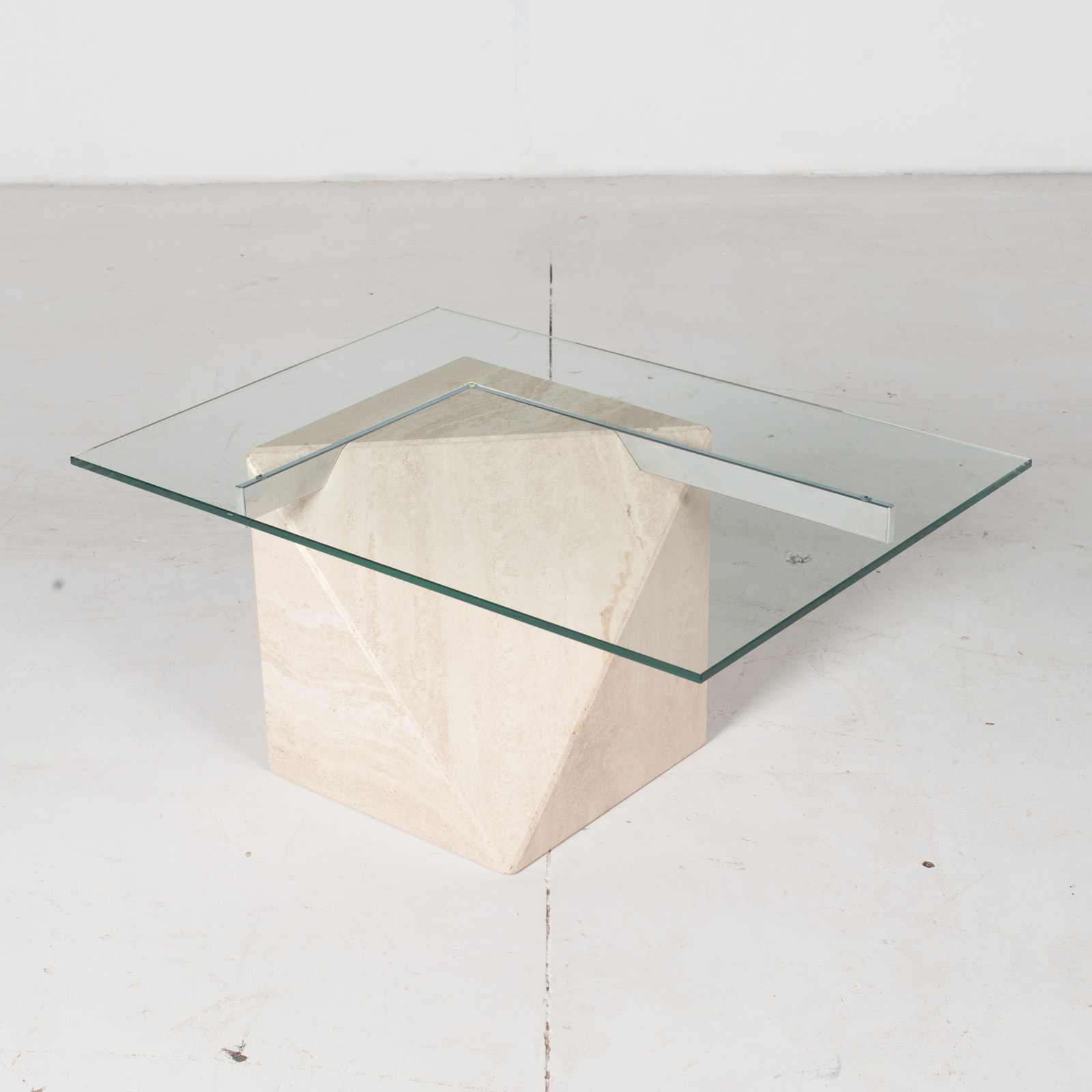 Coffee Table By Artedi In Travertine, Cantilevered Glass And Chrome, 1970s, Italy5