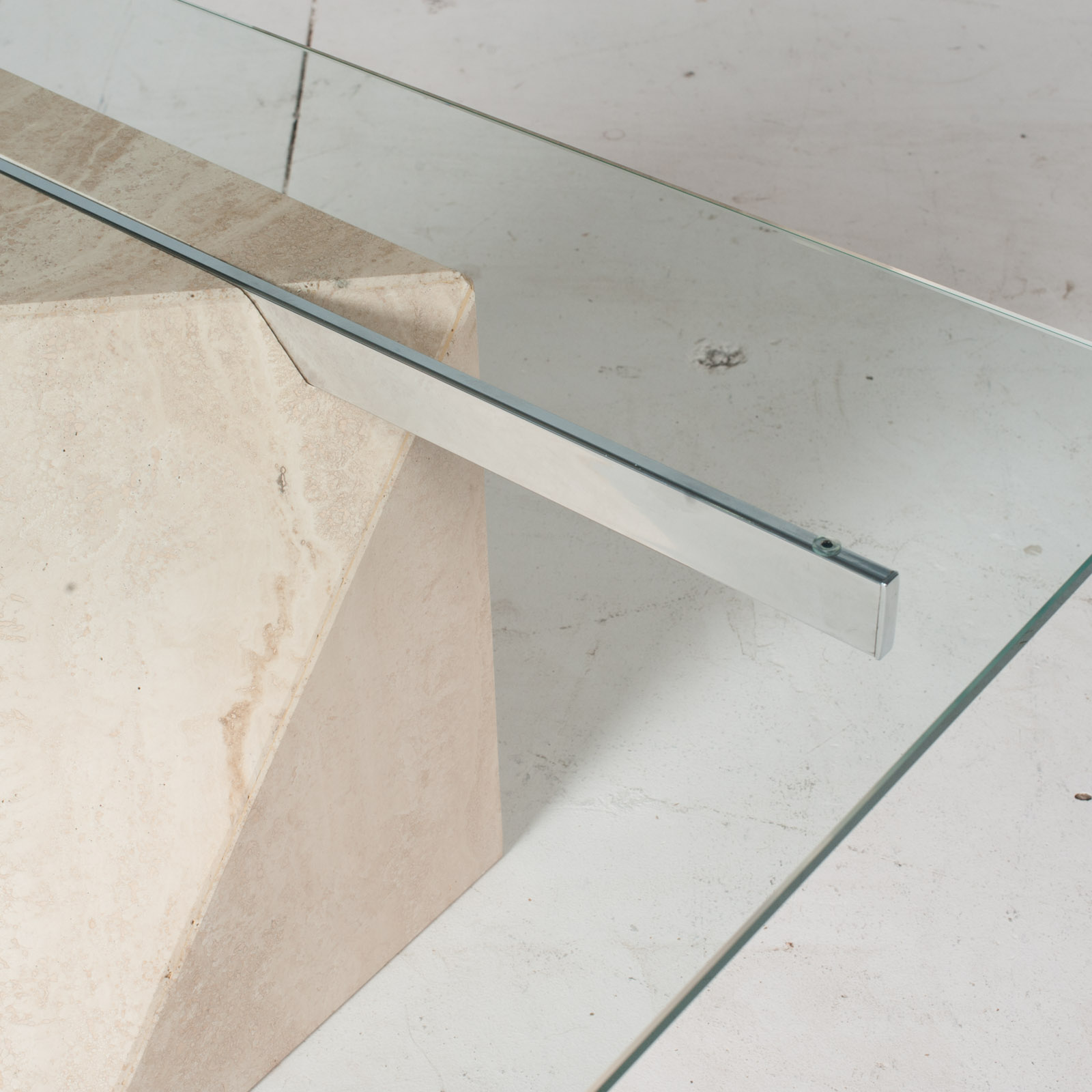 Coffee Table By Artedi In Travertine, Cantilevered Glass And Chrome, 1970s, Italy7