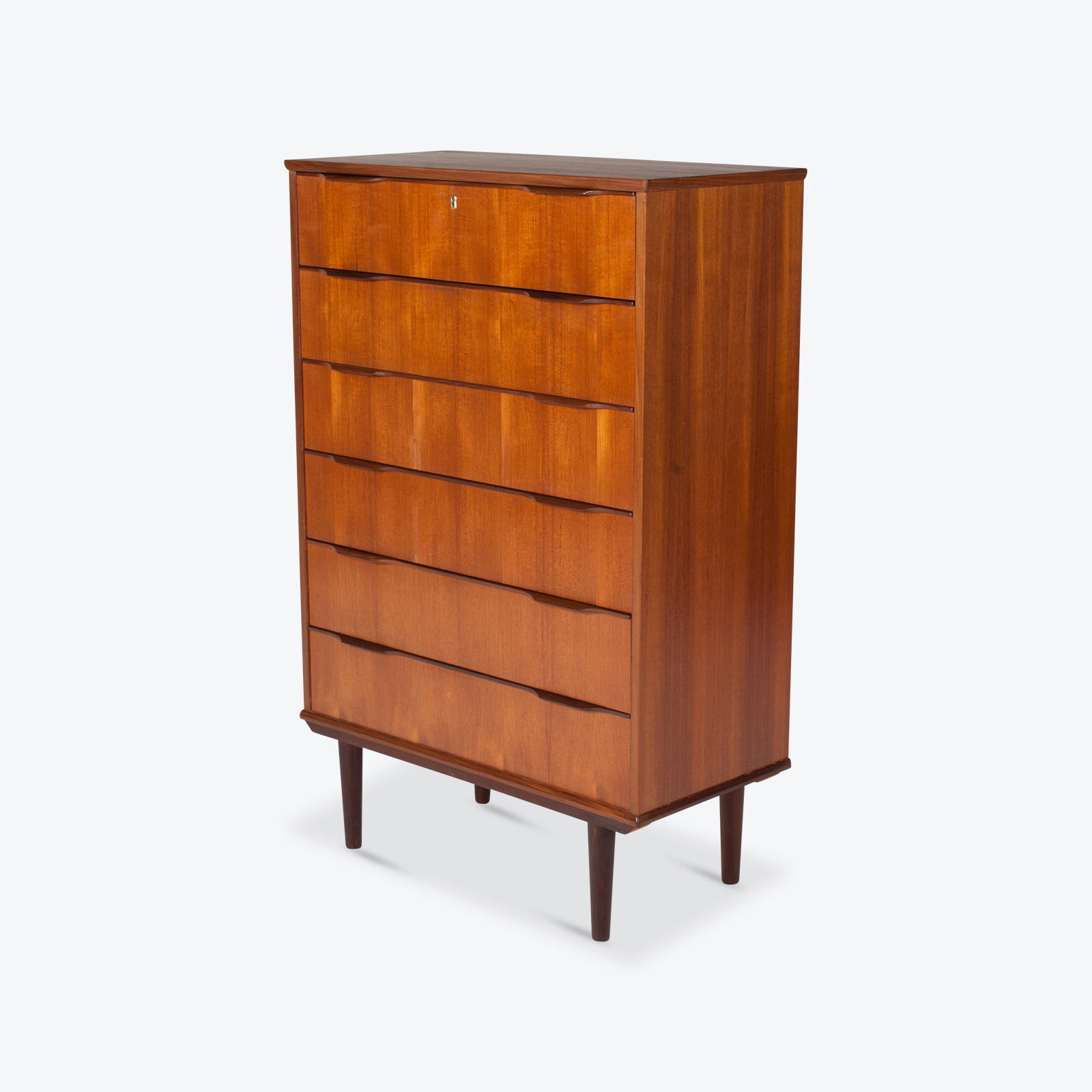 Deep Chest In Teak With Six Drawers And Lipped Handles, 1960s, Denmark Hero 1
