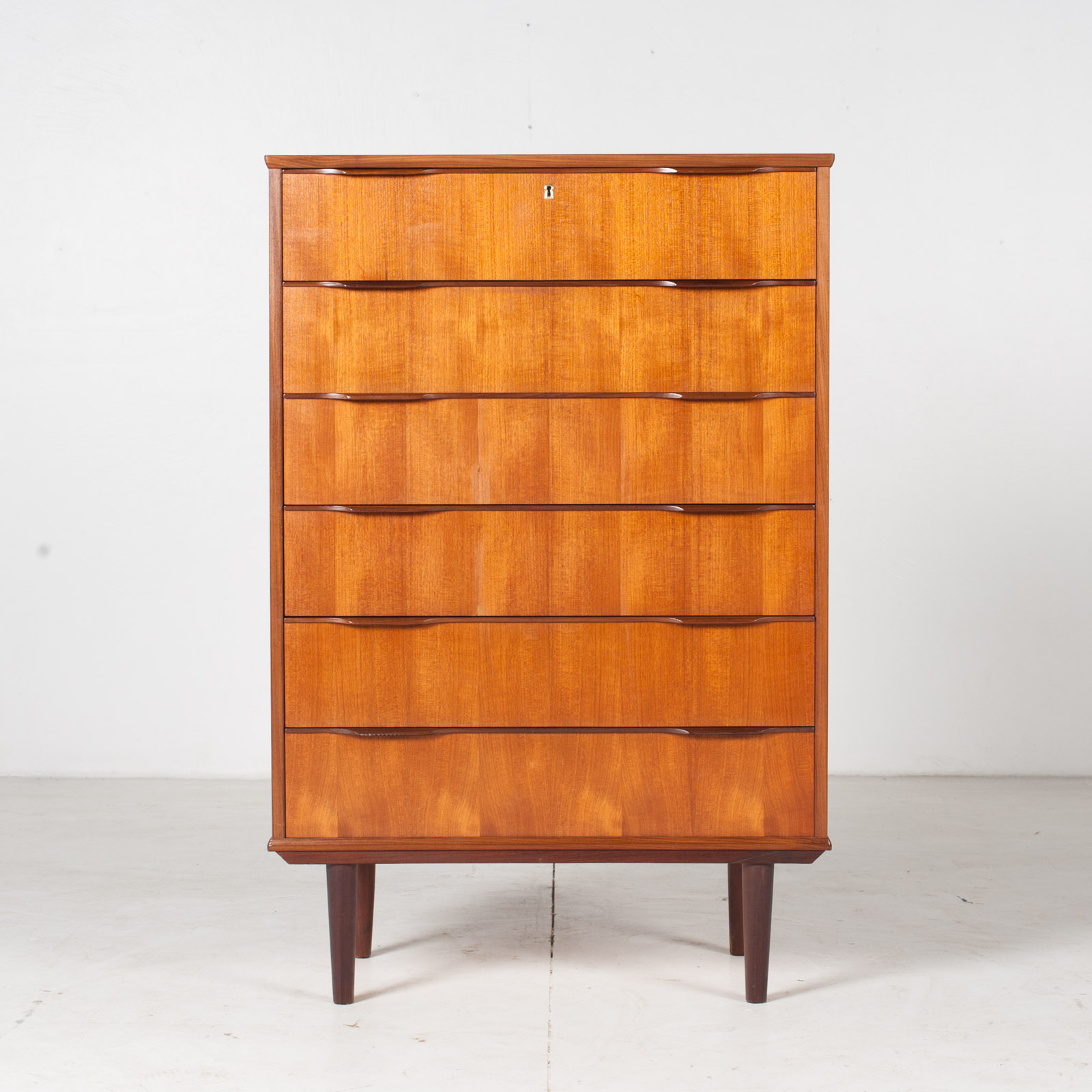Deep Chest In Teak With Six Drawers And Lipped Handles, 1960s, Denmark1