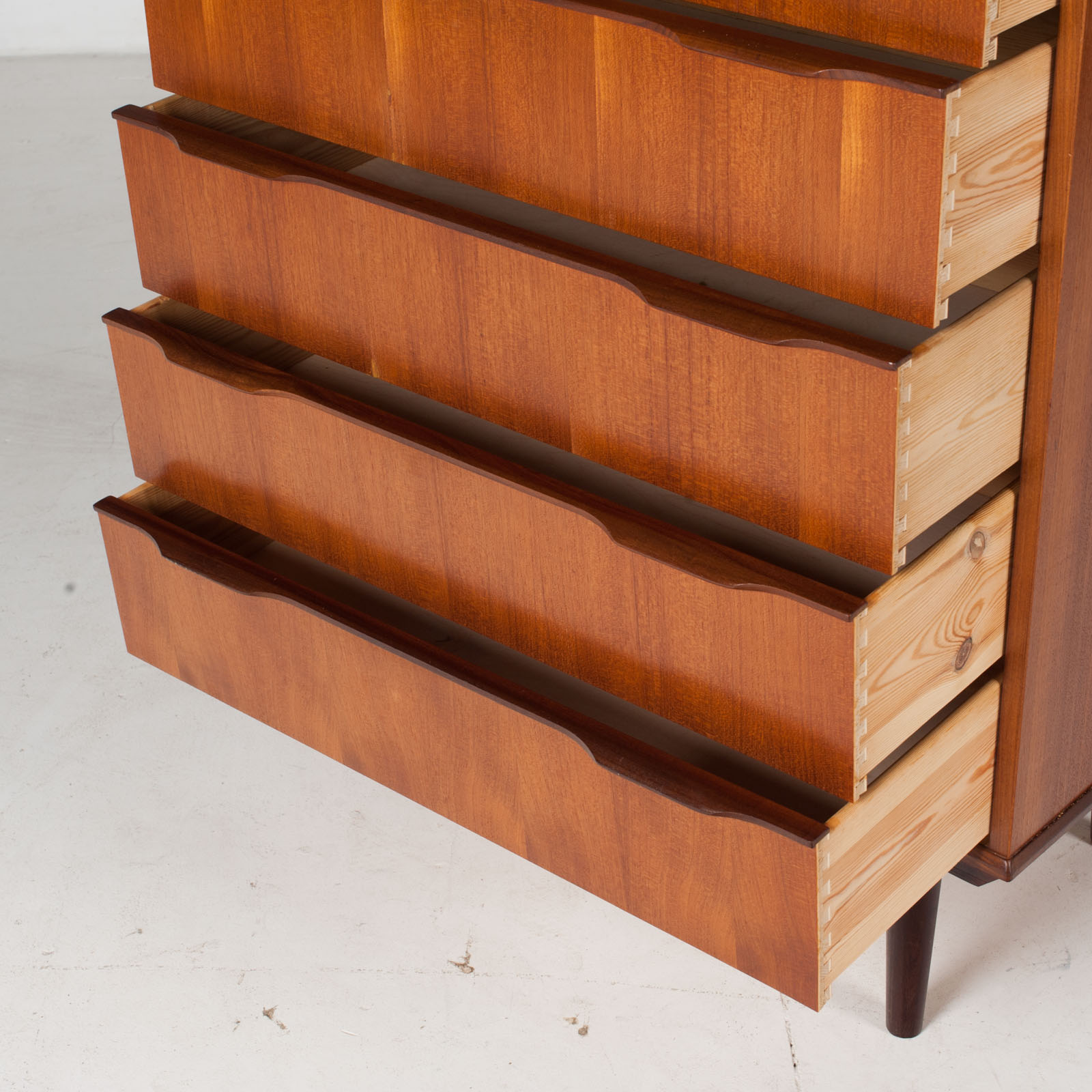 Deep Chest In Teak With Six Drawers And Lipped Handles, 1960s, Denmark6