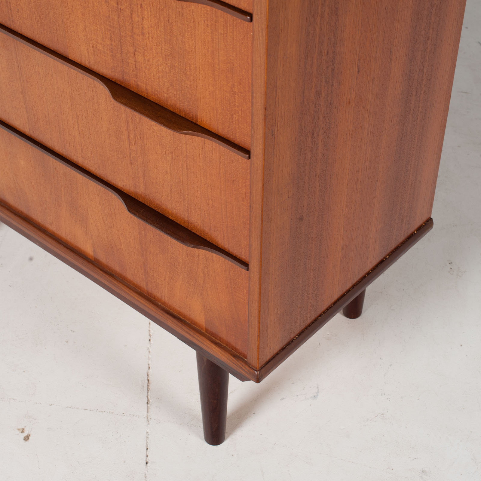 Deep Chest In Teak With Six Drawers And Lipped Handles, 1960s, Denmark8