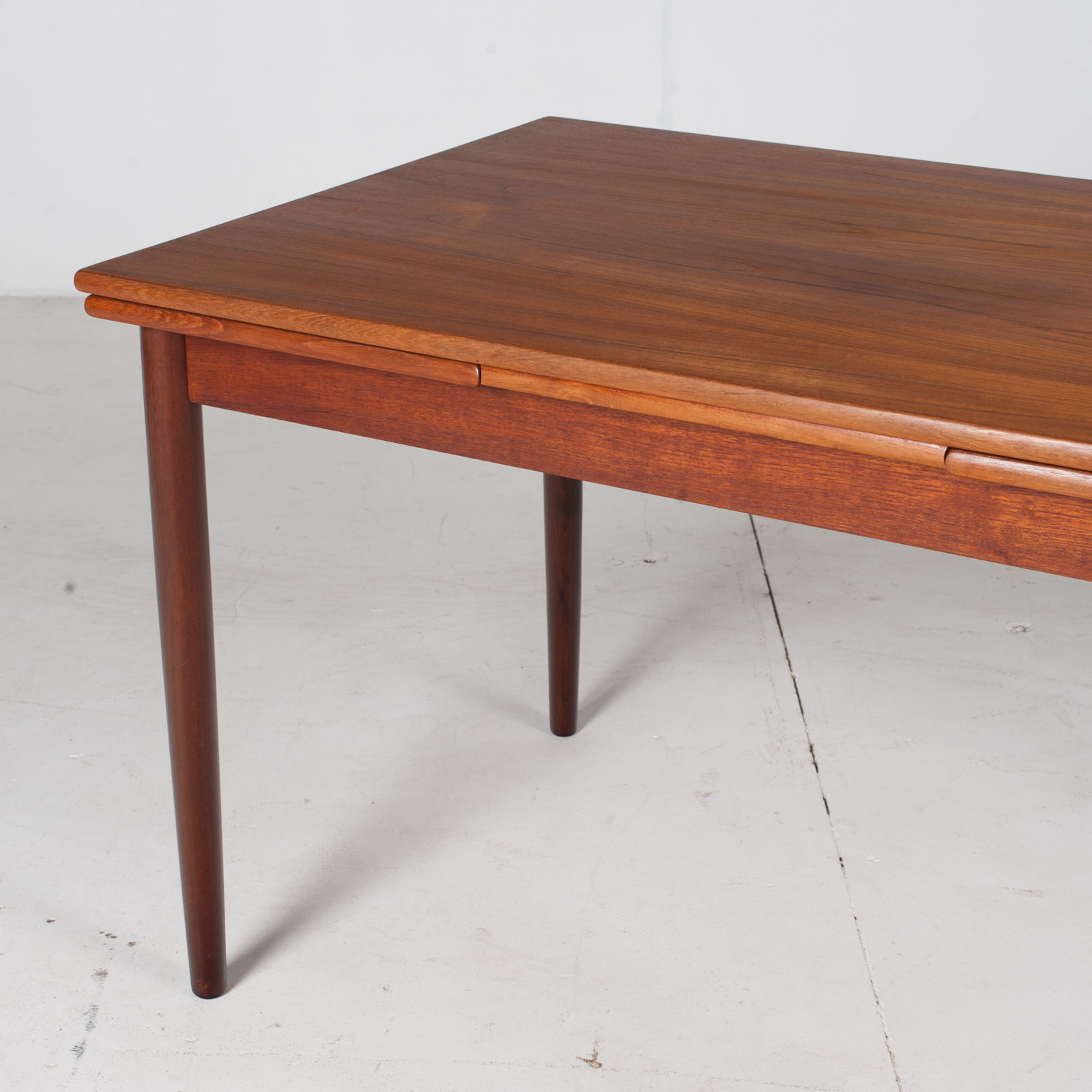 Extendable Rectangular Dining Table In Teak With Solid Edge, 1960s, Denmark5