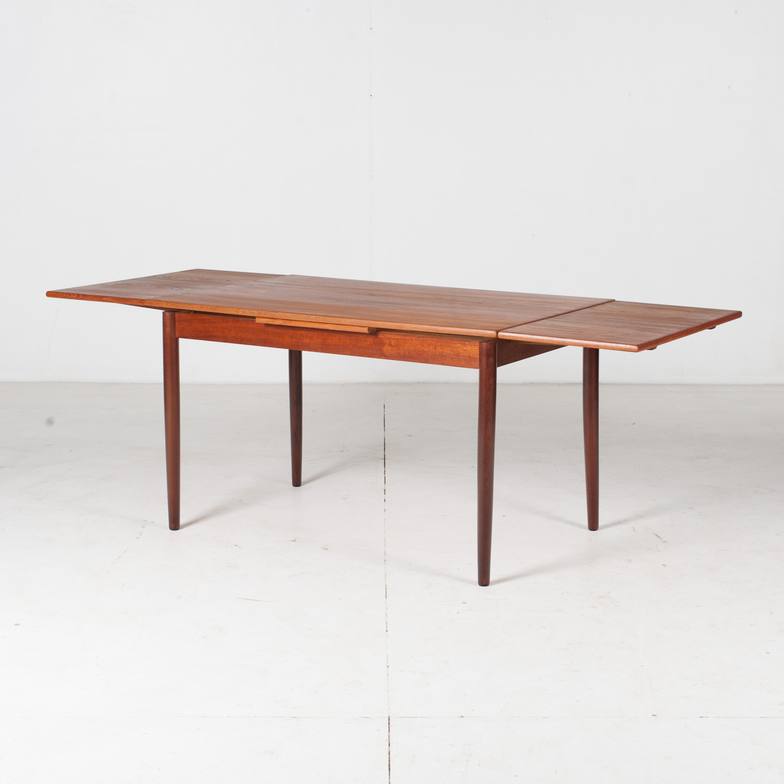 Extendable Rectangular Dining Table In Teak With Solid Edge, 1960s, Denmark7