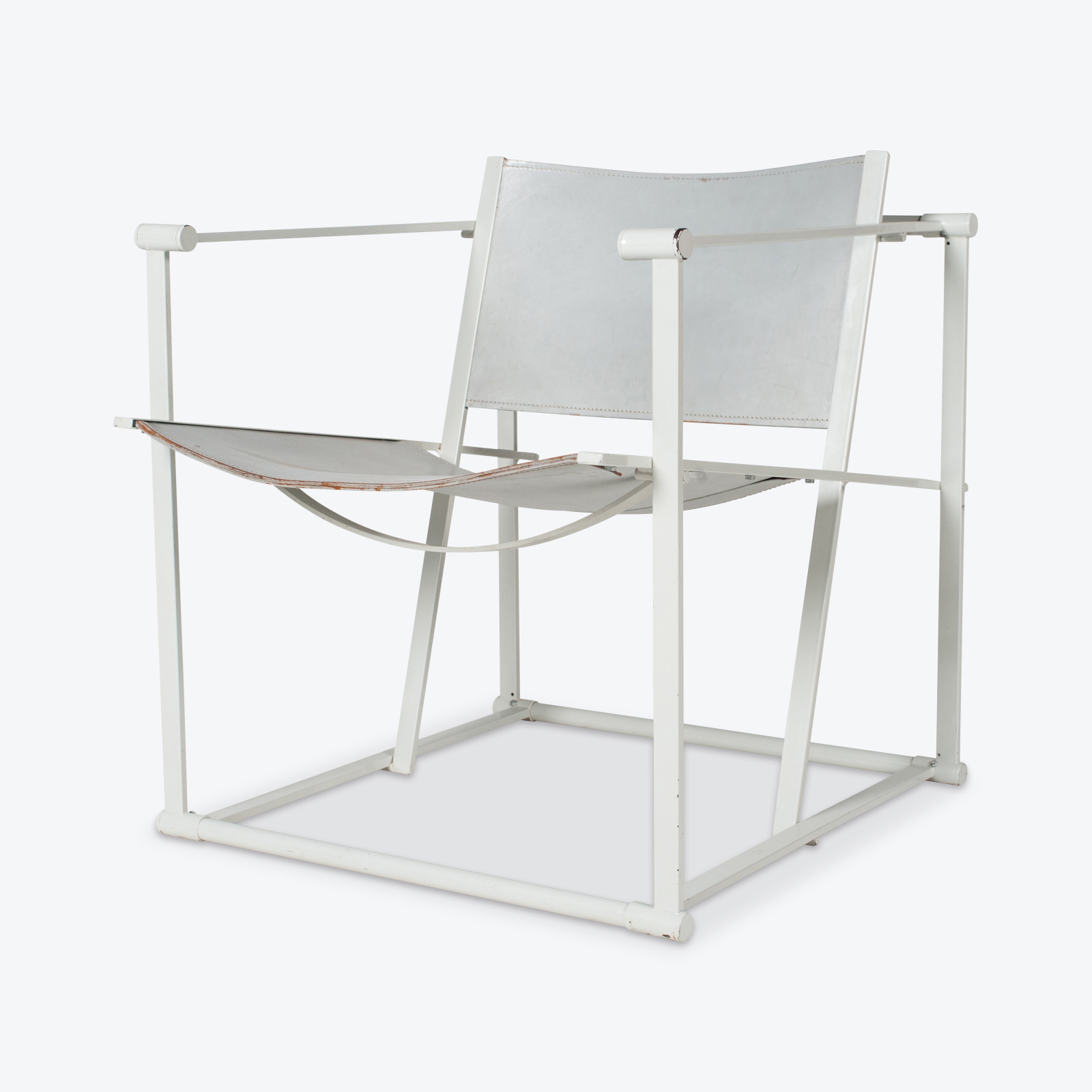 Fm60 Cubic Chairs In White Steel With Grey Leather By Radboud Van Beekum For Pastoe, The Netherlands Hero 1