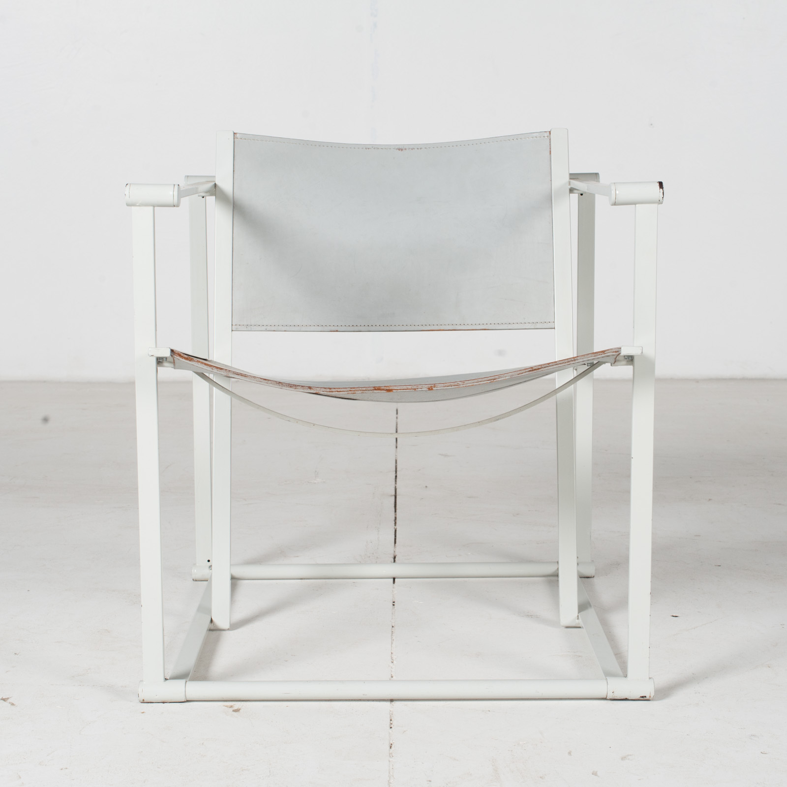 Fm60 Cubic Chairs In White Steel With Grey Leather By Radboud Van Beekum For Pastoe, The Netherlands1
