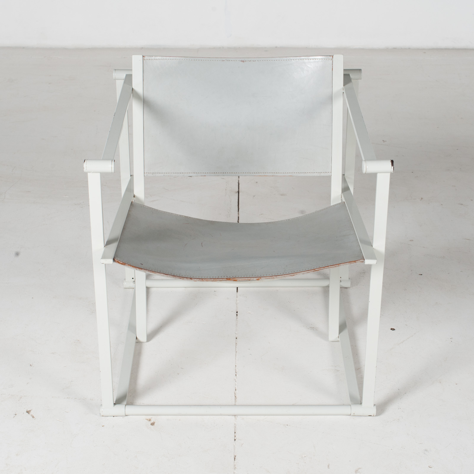 Fm60 Cubic Chairs In White Steel With Grey Leather By Radboud Van Beekum For Pastoe, The Netherlands2