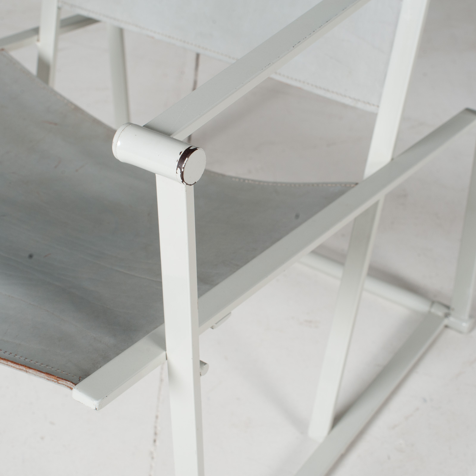 Fm60 Cubic Chairs In White Steel With Grey Leather By Radboud Van Beekum For Pastoe, The Netherlands7