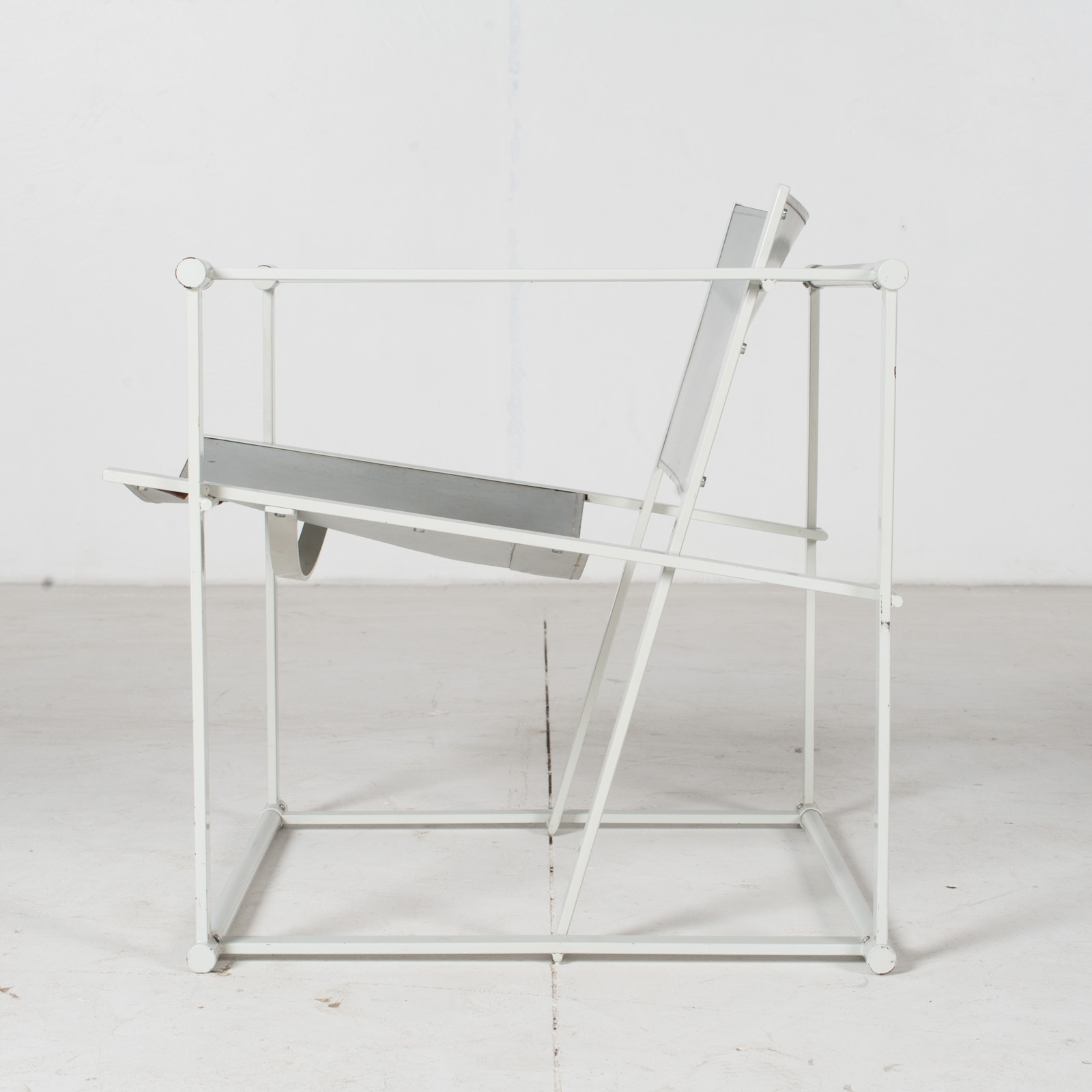 Fm60 Cubic Chairs In White Steel With Grey Leather By Radboud Van Beekum For Pastoe, The Netherlands8