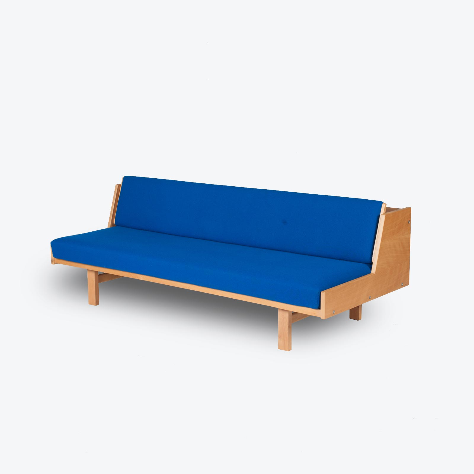 Ge 258 Daybed By Hans J. Wegner In Beech With Original Blue Upholstery For Getama, 1960s, Denmark Hero