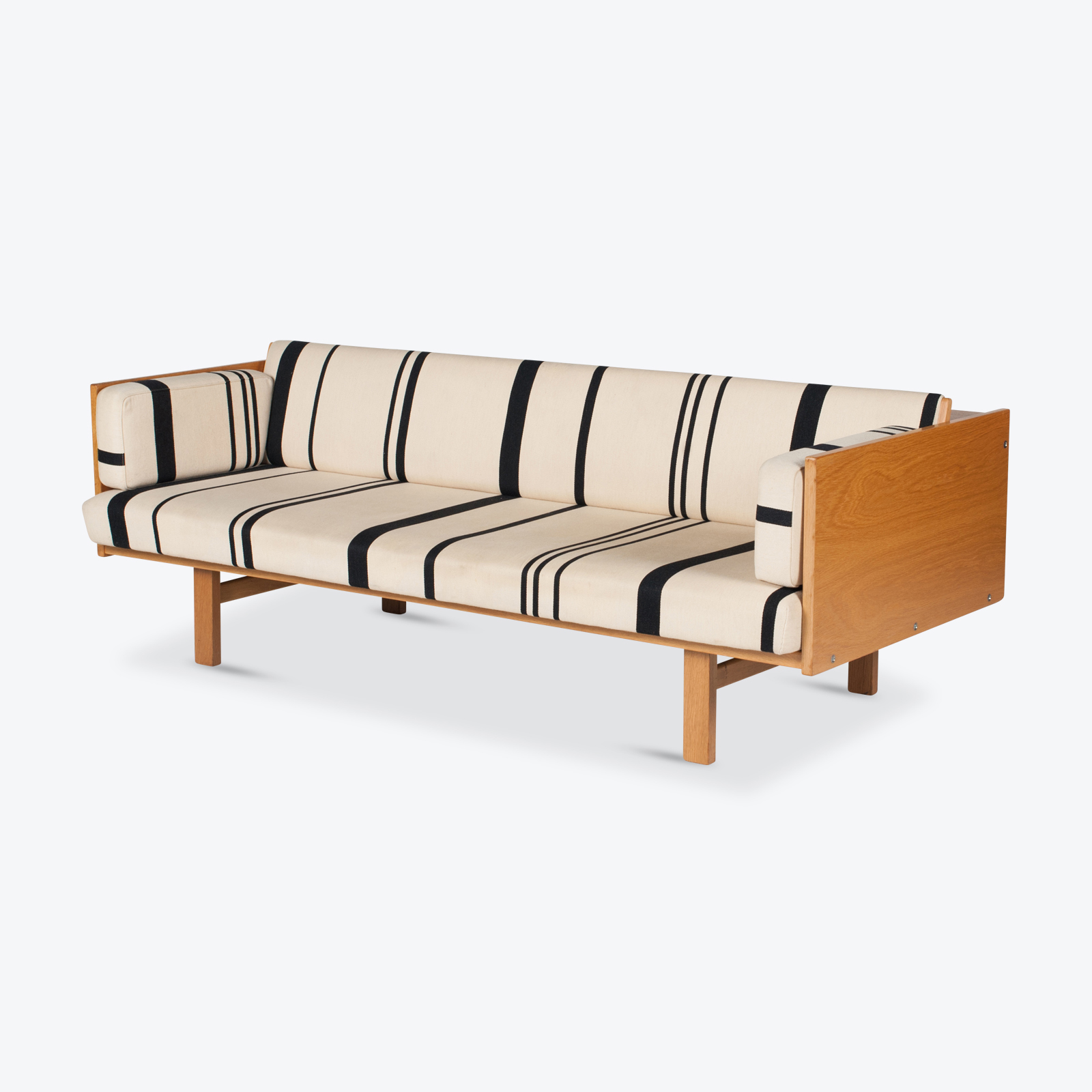 Ge 259 Daybed In Oak With Striped Upholstery By Hans Wegner For Getama, 1960s, Denmark Hero 1