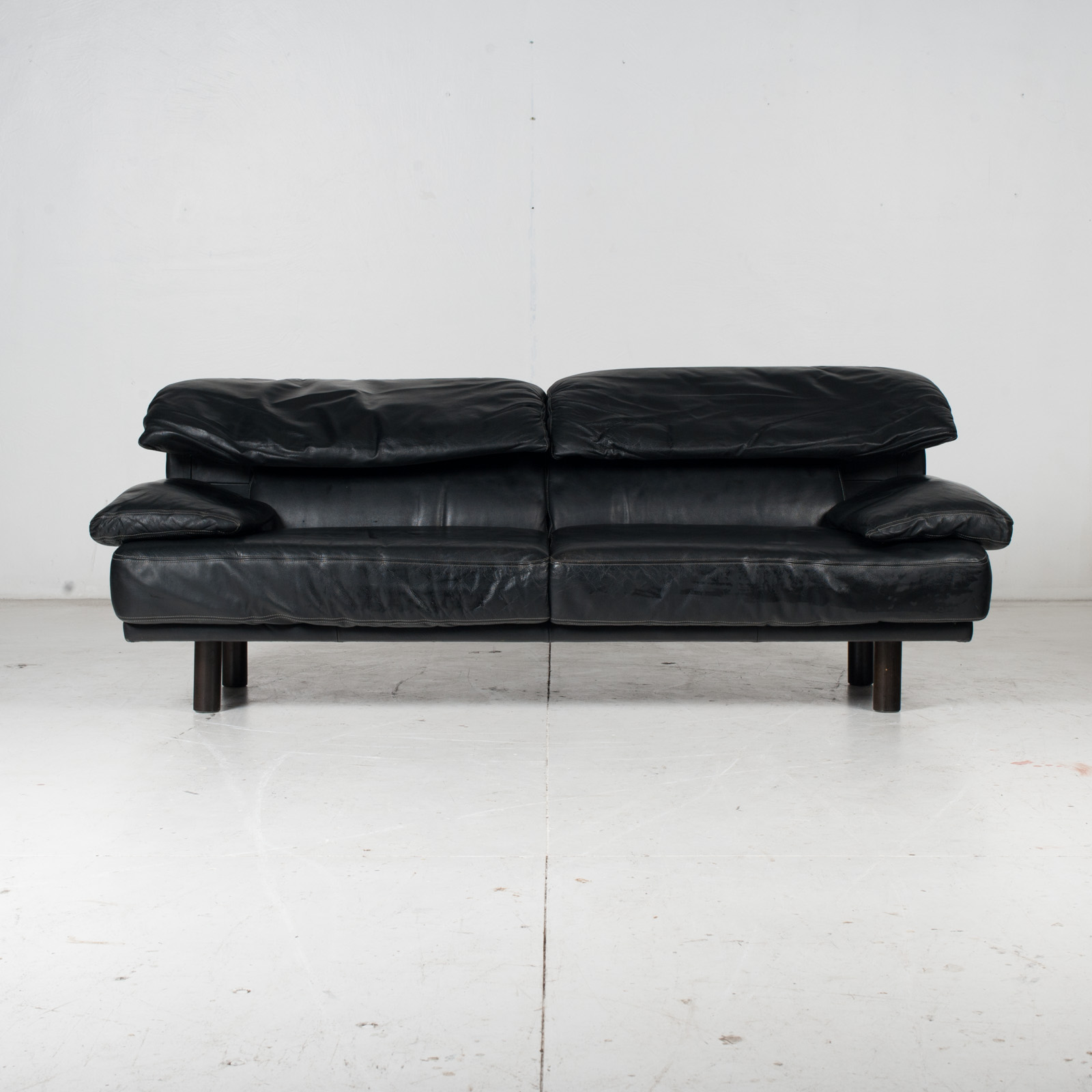 2 Seat Sofa In The Style Of Alanda By Paolo Piva For B&b Italia In Black Leather, 1980s, Italy It 1