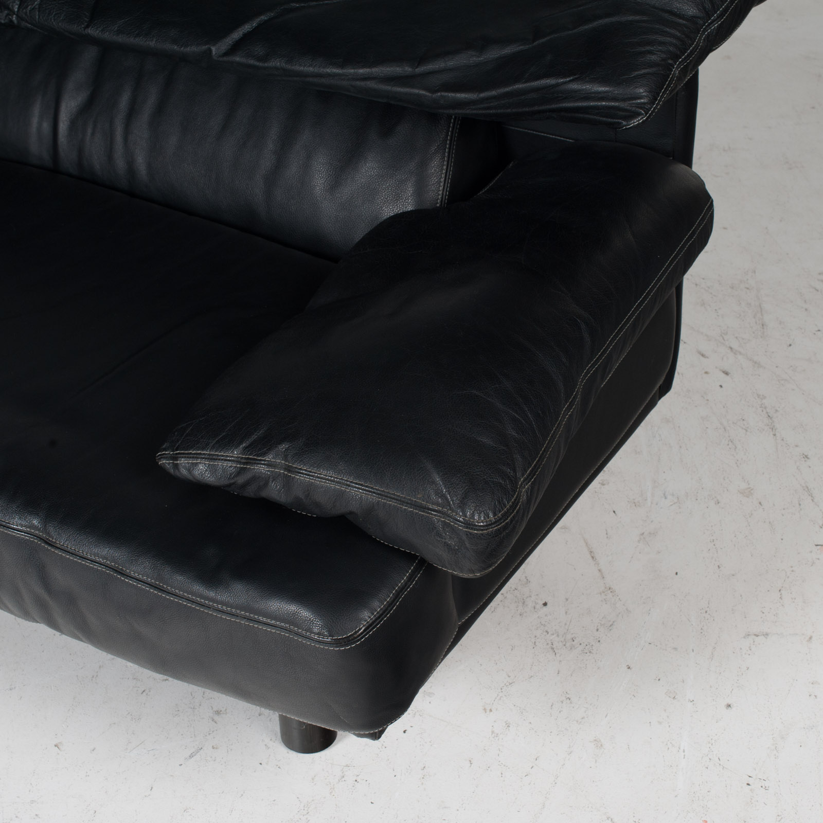 2 Seat Sofa In The Style Of Alanda By Paolo Piva For B&b Italia In Black Leather, 1980s, Italy It 11