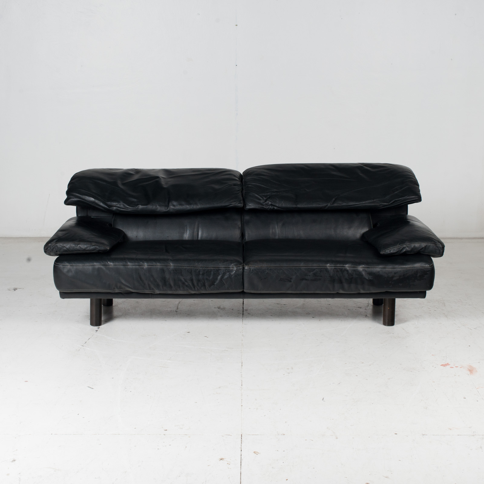 2 Seat Sofa In The Style Of Alanda By Paolo Piva For B&b Italia In Black Leather, 1980s, Italy It 2