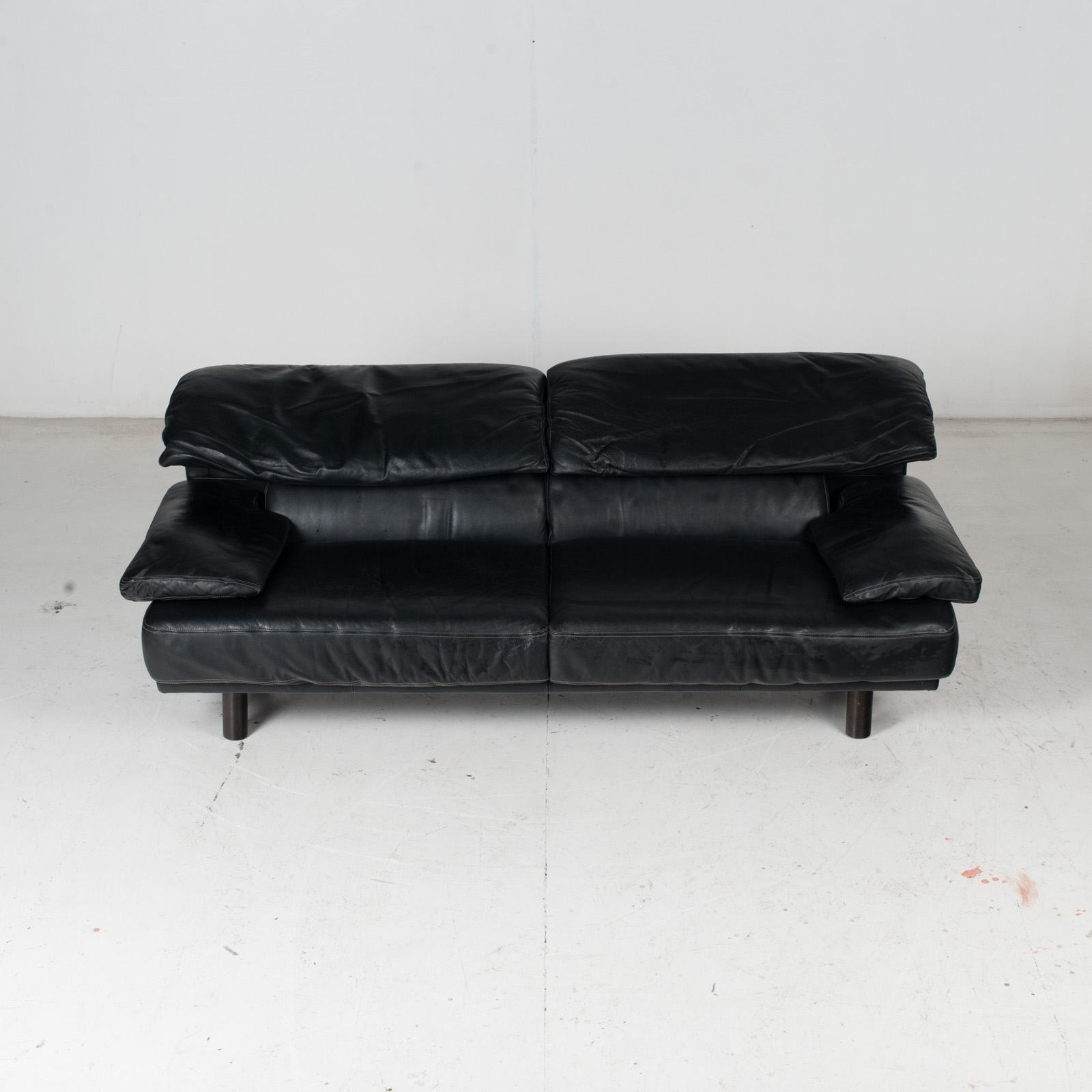 2 Seat Sofa In The Style Of Alanda By Paolo Piva For B&b Italia In Black Leather, 1980s, Italy It 3