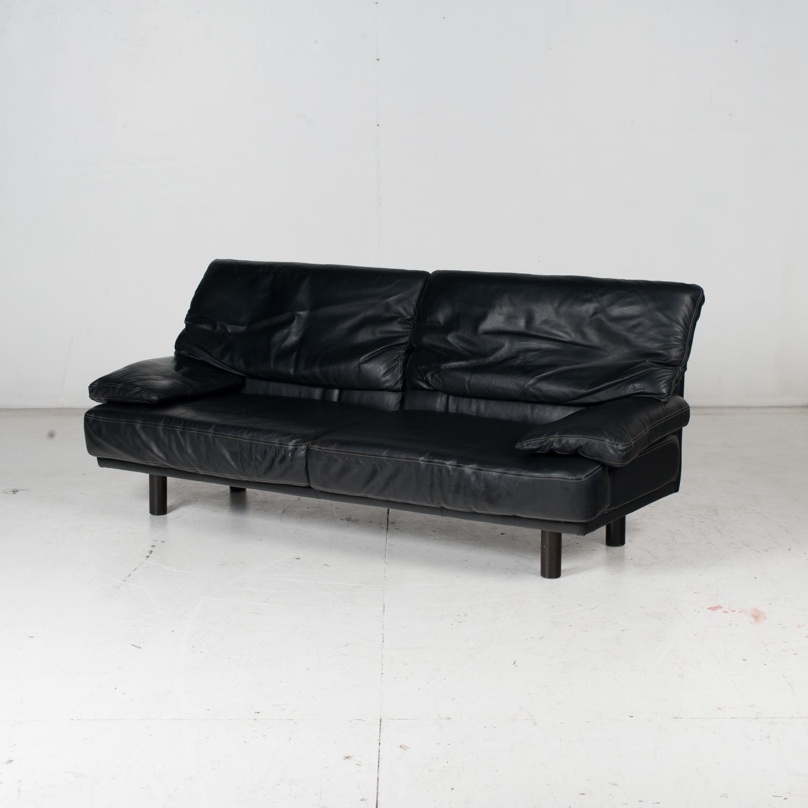 2 Seat Sofa In The Style Of Alanda By Paolo Piva For B&b Italia In Black Leather, 1980s, Italy It 5