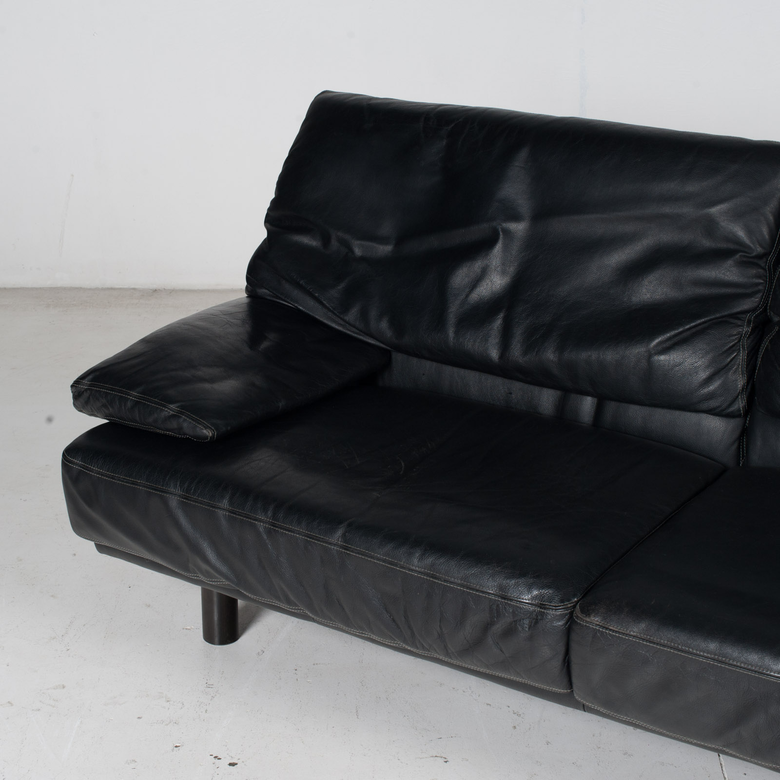 2 Seat Sofa In The Style Of Alanda By Paolo Piva For B&b Italia In Black Leather, 1980s, Italy It 6