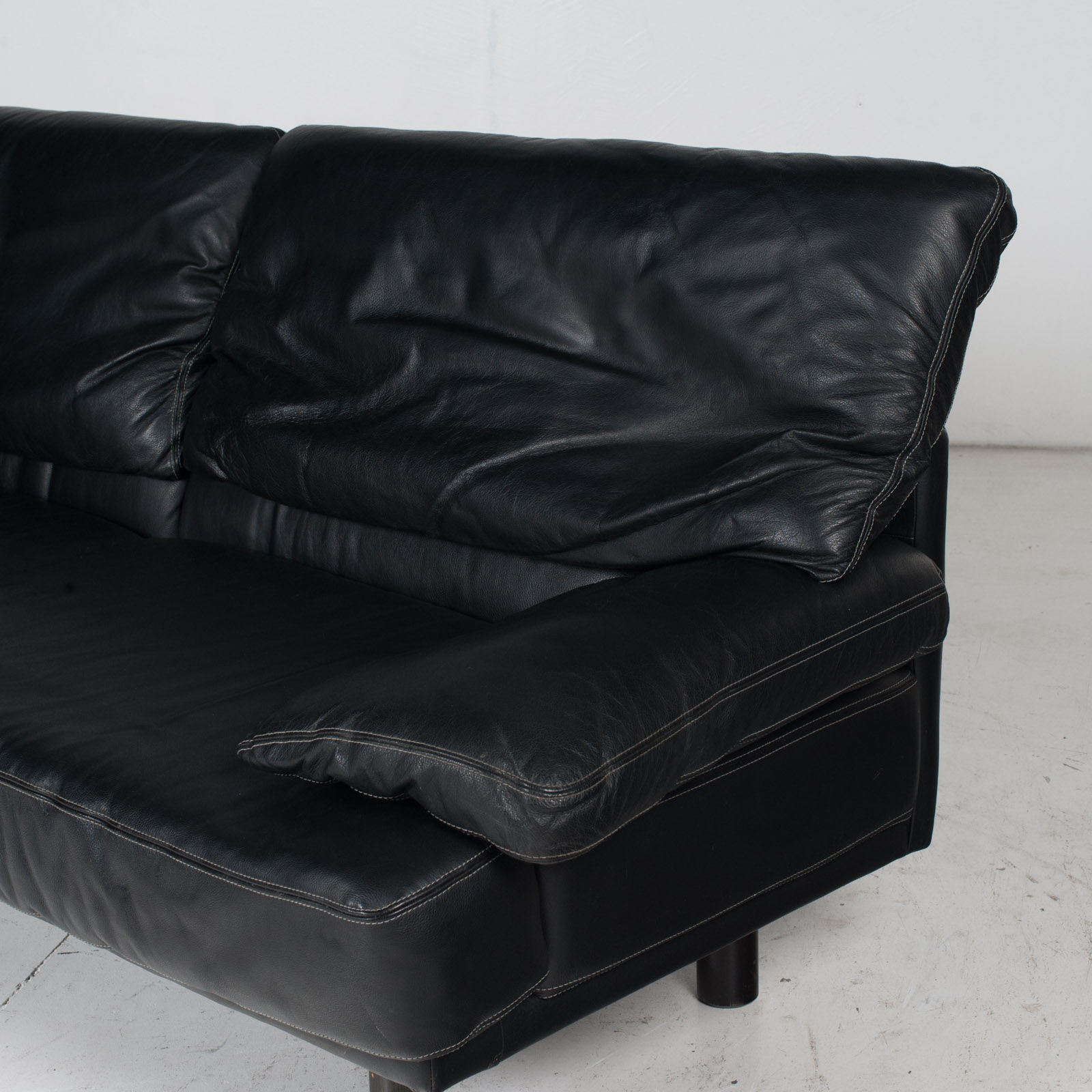 2 Seat Sofa In The Style Of Alanda By Paolo Piva For B&b Italia In Black Leather, 1980s, Italy It 7