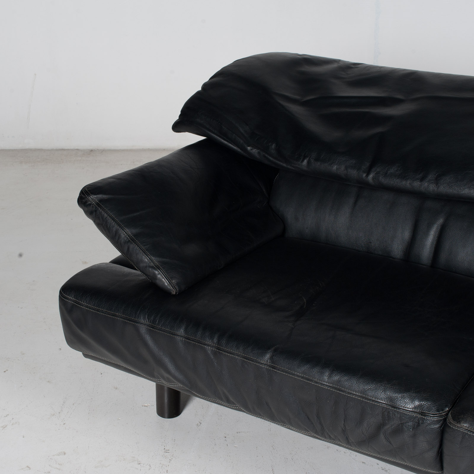 2 Seat Sofa In The Style Of Alanda By Paolo Piva For B&b Italia In Black Leather, 1980s, Italy It 9