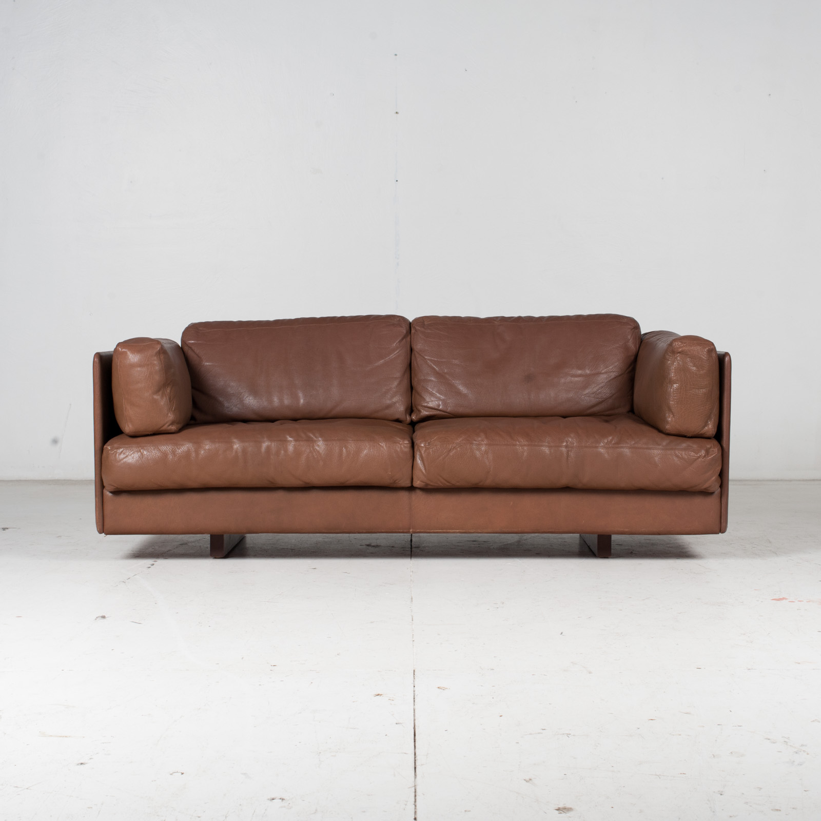 2 Seater Sofa In Brown Leather, 1960s, Switzerland 1