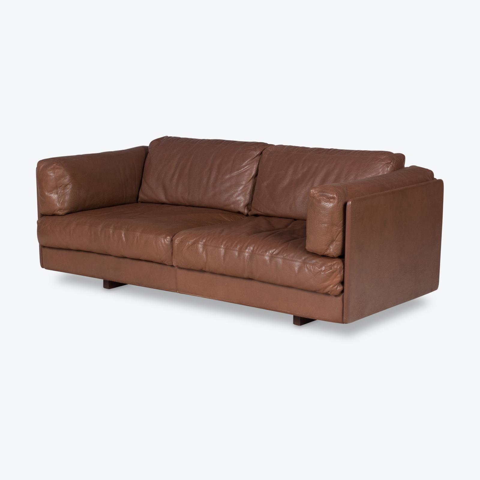 2 Seater Sofa In Brown Leather, 1960s, Switzerland Hero 1
