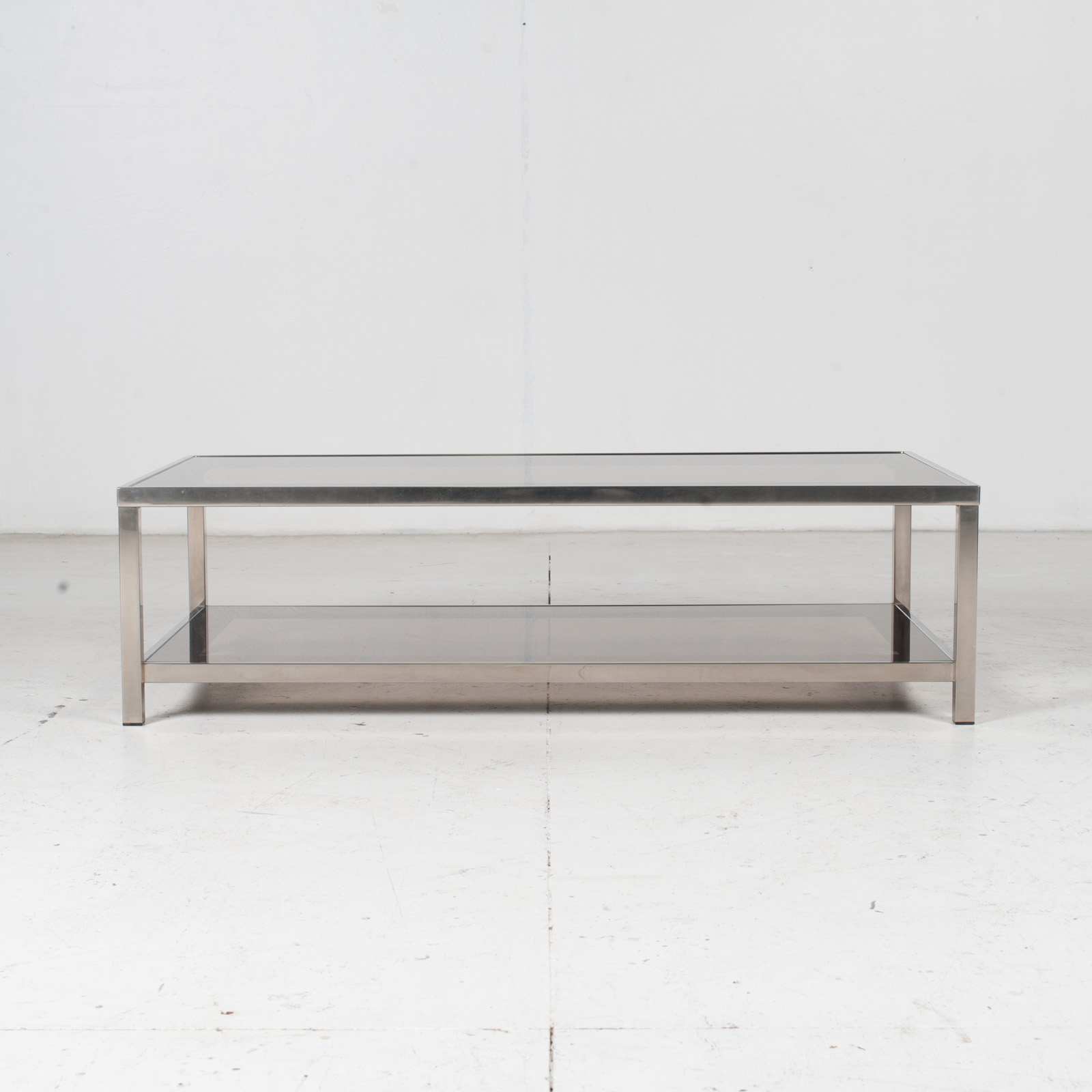 Coffee Table By Belgo Chrome In Smoked Glass, 1970s, Belgium 1