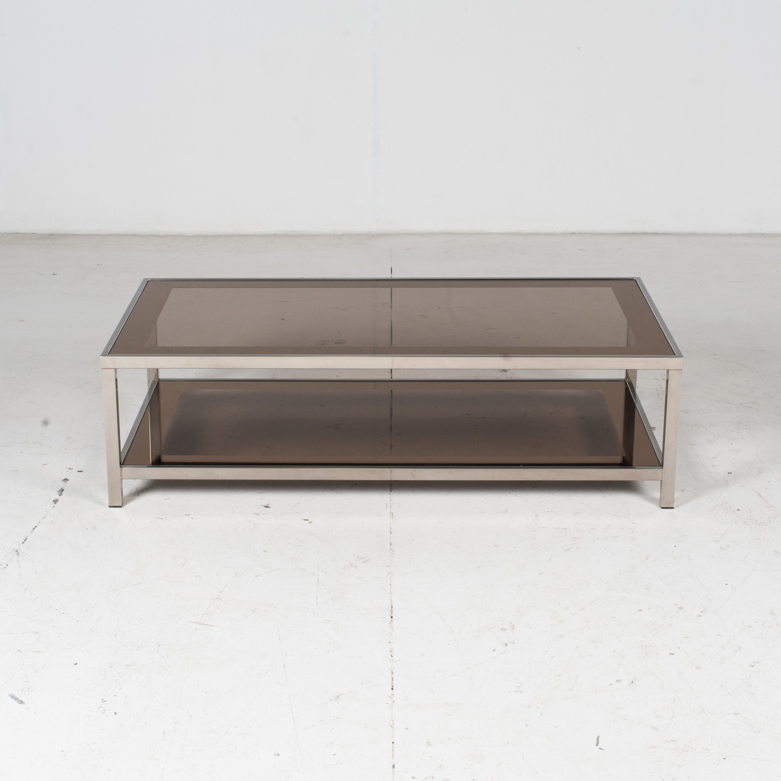 Coffee Table By Belgo Chrome In Smoked Glass, 1970s, Belgium 2
