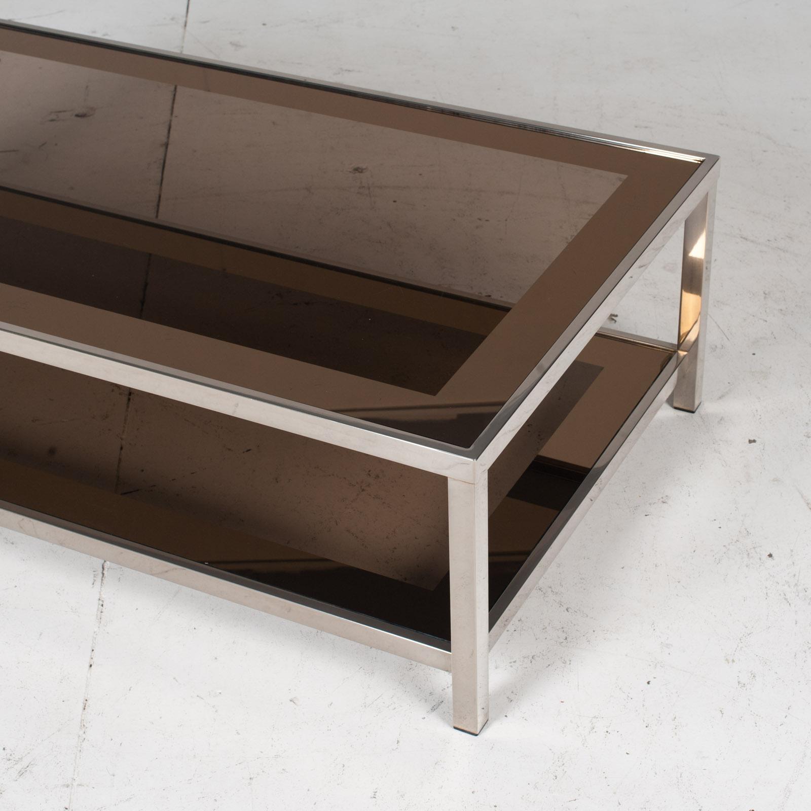 Coffee Table By Belgo Chrome In Smoked Glass, 1970s, Belgium 6