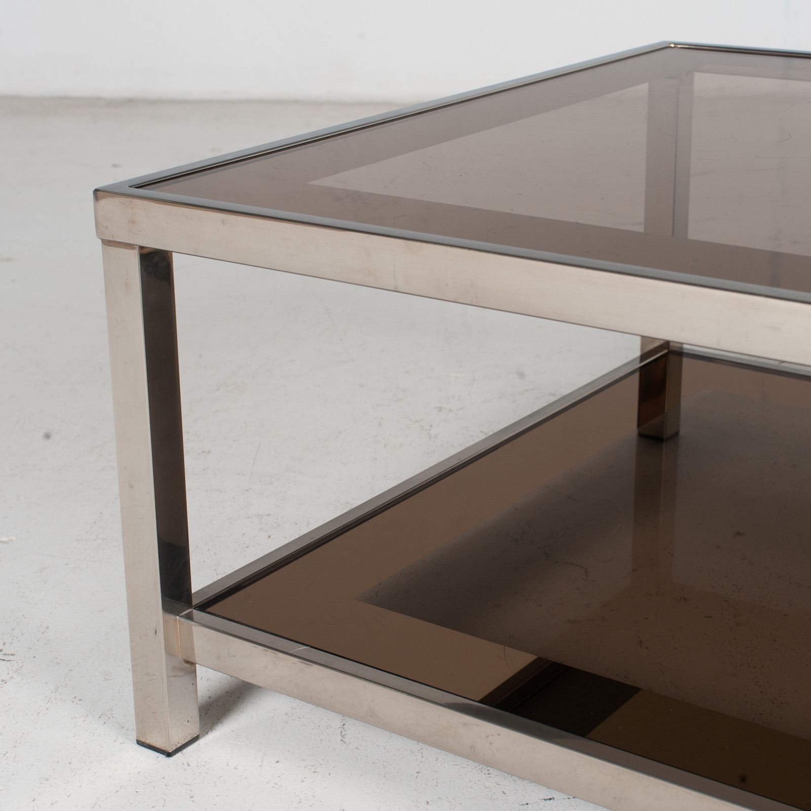 Coffee Table By Belgo Chrome In Smoked Glass, 1970s, Belgium 7